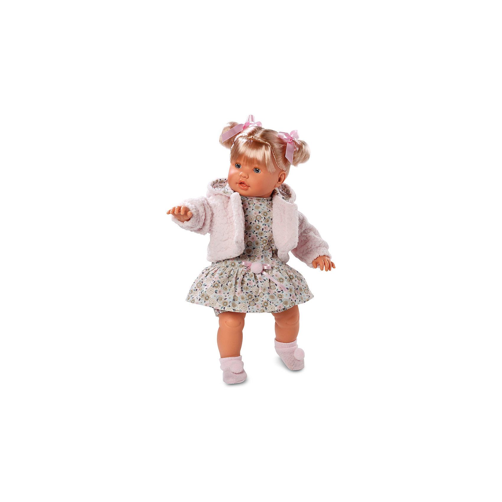 Кукла, 48 см, LlorensКлассические куклы<br>Характеристики:<br><br>• Предназначение: для сюжетно-ролевых игр<br>• Тип куклы: мягконабивная<br>• Пол куклы: девочка <br>• Цвет волос: блондинка<br>• Материал: поливинилхлорид, пластик, нейлон, текстиль<br>• Цвет: розовый, белый, коричневый<br>• Высота куклы: 48 см<br>• Комплектация: кукла, платье, панталончики, носочки, шубка<br>• Вес: 1 кг 550 г<br>• Размеры упаковки (Д*В*Ш): 23*45*12 см<br>• Упаковка: подарочная картонная коробка <br>• Особенности ухода: допускается деликатная стирка без использования красящих и отбеливающих средств предметов одежды куклы<br><br>Кукла 48 см без звука – кукла, производителем которого является всемирно известный испанский кукольный бренд Llorens. Куклы этой торговой марки имеют свою неповторимую внешность и целую линейку образов как пупсов, так и кукол-малышей. Игрушки выполнены из сочетания поливинилхлорида и пластика, что позволяет с высокой долей достоверности воссоздать физиологические и мимические особенности маленьких детей. При изготовлении кукол Llorens используются только сертифицированные материалы, безопасные и не вызывающие аллергических реакций. Волосы у кукол отличаются густотой, шелковистостью и блеском, при расчесывании они не выпадают и не ломаются.<br>Кукла 48 см без звука выполнена в образе малышки: у нее светлые волосы, собранные в два хвостика, и голубые глаза. Комплект одежды состоит из платьица с цветочным принтом, панталончиков, короткой розовой шубки с капюшоном и розовых носочков с розовыми помпонами.<br>Кукла 48 см без звука – это идеальный вариант для подарка к различным праздникам и торжествам.<br><br>Куклу 48 см без звука можно купить в нашем интернет-магазине.<br><br>Ширина мм: 23<br>Глубина мм: 45<br>Высота мм: 12<br>Вес г: 1550<br>Возраст от месяцев: 36<br>Возраст до месяцев: 84<br>Пол: Женский<br>Возраст: Детский<br>SKU: 5086922