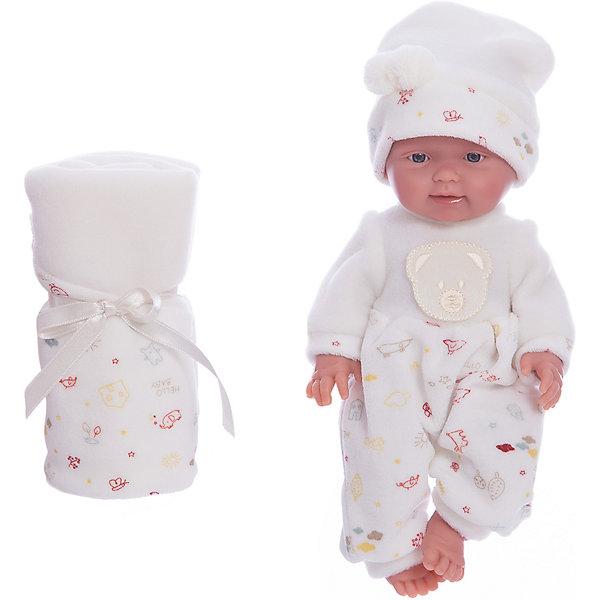 Кукла Бэбитоc одеялом, 26 см, LlorensБренды кукол<br>Характеристики:<br><br>• Предназначение: для сюжетно-ролевых игр<br>• Тип куклы: мягконабивная<br>• Пол куклы: мальчик <br>• Волосы: прорисованные<br>• Материал: поливинилхлорид, пластик, текстиль<br>• Цвет: белый, бежевый<br>• Высота куклы: 26 см<br>• Комплектация: кукла, комбинезон, шапочка, одеяло<br>• Вес: 666 г<br>• Размеры упаковки (Д*В*Ш): 20*37*10 см<br>• Упаковка: подарочная картонная коробка <br>• Особенности ухода: допускается деликатная стирка без использования красящих и отбеливающих средств предметов одежды куклы<br><br>Кукла Бэбито с одеялом 26 см – пупс, производителем которого является всемирно известный испанский кукольный бренд Llorens. Куклы этой торговой марки имеют свою неповторимую внешность и целую линейку образов как пупсов, так и кукол-малышей. Игрушки выполнены из сочетания поливинилхлорида и пластика, что позволяет с высокой долей достоверности воссоздать физиологические и мимические особенности маленьких детей. При изготовлении кукол Llorens используются только сертифицированные материалы, безопасные и не вызывающие аллергических реакций. Волосы у кукол-пупсов прорисованные; ручки и ножки двигаются.<br>Кукла Бэбито с одеялом 26 см выполнена в образе очаровательного малыша: голубые глазки и пухлые щечки создают невероятно очаровательный и милый образ. В комплект одежды Бэбито входит теплый комбинированный комбинезончик и шапочка. В наборе имеется одеяло-плед.<br>Кукла Бэбито с одеялом 26 см – это идеальный вариант для подарка к различным праздникам и торжествам.<br><br>Куклу Бэбито с одеялом 26 см можно купить в нашем интернет-магазине.<br>Ширина мм: 20; Глубина мм: 37; Высота мм: 10; Вес г: 666; Возраст от месяцев: 36; Возраст до месяцев: 84; Пол: Женский; Возраст: Детский; SKU: 5086924;