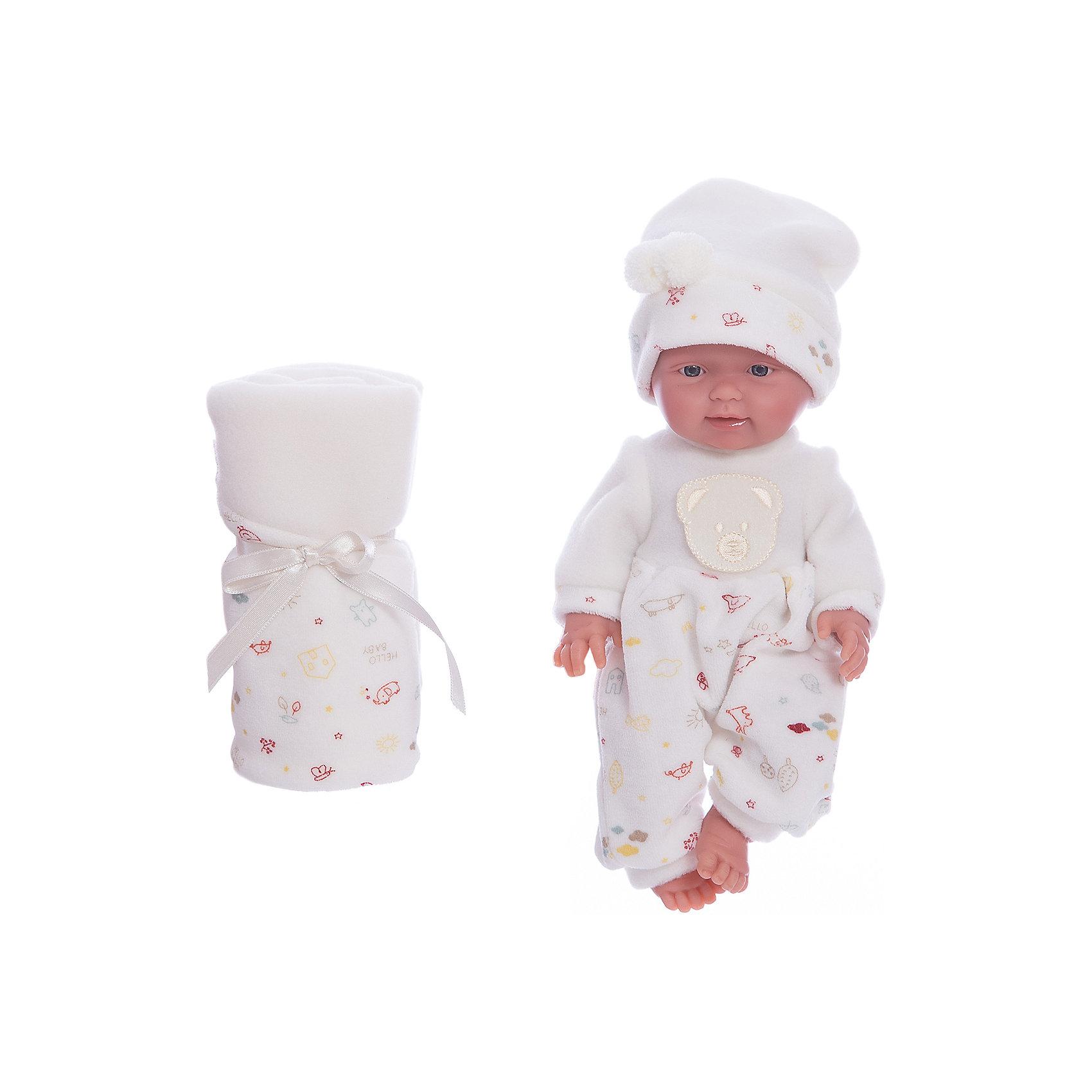 Кукла Бэбитоc одеялом, 26 см, LlorensКуклы<br>Характеристики:<br><br>• Предназначение: для сюжетно-ролевых игр<br>• Тип куклы: мягконабивная<br>• Пол куклы: мальчик <br>• Волосы: прорисованные<br>• Материал: поливинилхлорид, пластик, текстиль<br>• Цвет: белый, бежевый<br>• Высота куклы: 26 см<br>• Комплектация: кукла, комбинезон, шапочка, одеяло<br>• Вес: 666 г<br>• Размеры упаковки (Д*В*Ш): 20*37*10 см<br>• Упаковка: подарочная картонная коробка <br>• Особенности ухода: допускается деликатная стирка без использования красящих и отбеливающих средств предметов одежды куклы<br><br>Кукла Бэбито с одеялом 26 см – пупс, производителем которого является всемирно известный испанский кукольный бренд Llorens. Куклы этой торговой марки имеют свою неповторимую внешность и целую линейку образов как пупсов, так и кукол-малышей. Игрушки выполнены из сочетания поливинилхлорида и пластика, что позволяет с высокой долей достоверности воссоздать физиологические и мимические особенности маленьких детей. При изготовлении кукол Llorens используются только сертифицированные материалы, безопасные и не вызывающие аллергических реакций. Волосы у кукол-пупсов прорисованные; ручки и ножки двигаются.<br>Кукла Бэбито с одеялом 26 см выполнена в образе очаровательного малыша: голубые глазки и пухлые щечки создают невероятно очаровательный и милый образ. В комплект одежды Бэбито входит теплый комбинированный комбинезончик и шапочка. В наборе имеется одеяло-плед.<br>Кукла Бэбито с одеялом 26 см – это идеальный вариант для подарка к различным праздникам и торжествам.<br><br>Куклу Бэбито с одеялом 26 см можно купить в нашем интернет-магазине.<br><br>Ширина мм: 20<br>Глубина мм: 37<br>Высота мм: 10<br>Вес г: 666<br>Возраст от месяцев: 36<br>Возраст до месяцев: 84<br>Пол: Женский<br>Возраст: Детский<br>SKU: 5086924