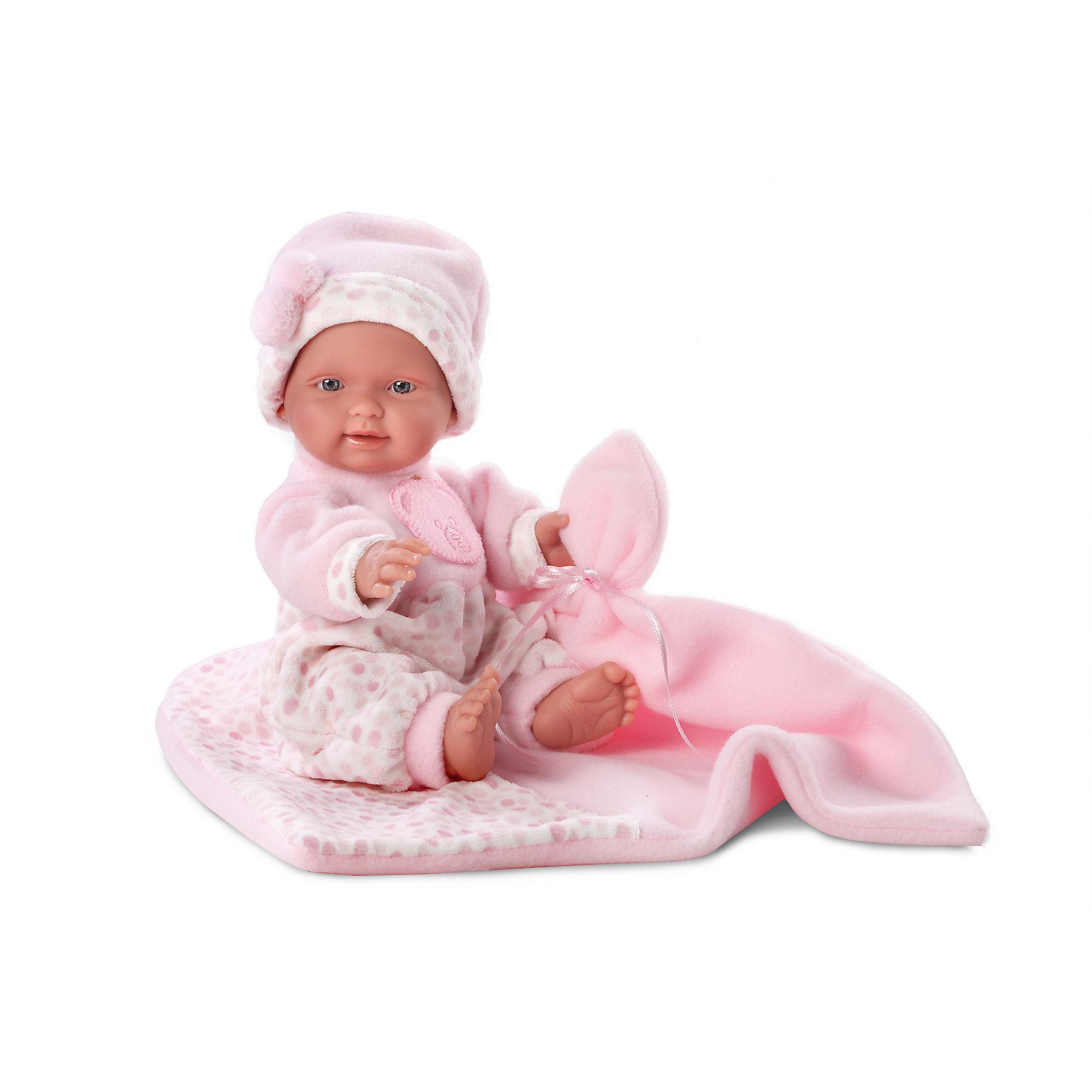 Кукла  БэбитаРоза с одеялом, 26 см, LlorensХарактеристики:<br><br>• Предназначение: для сюжетно-ролевых игр<br>• Тип куклы: мягконабивная<br>• Пол куклы: девочка <br>• Волосы: прорисованные<br>• Материал: поливинилхлорид, пластик, текстиль<br>• Цвет: розовый, белый<br>• Высота куклы: 26 см<br>• Комплектация: кукла, комбинезон, шапочка, одеяло<br>• Вес: 666 г<br>• Размеры упаковки (Д*В*Ш): 20*37*10 см<br>• Упаковка: подарочная картонная коробка <br>• Особенности ухода: допускается деликатная стирка без использования красящих и отбеливающих средств предметов одежды куклы<br><br>Кукла Бэбито с одеялом 26 см – пупс, производителем которого является всемирно известный испанский кукольный бренд Llorens. Куклы этой торговой марки имеют свою неповторимую внешность и целую линейку образов как пупсов, так и кукол-малышей. Игрушки выполнены из сочетания поливинилхлорида и пластика, что позволяет с высокой долей достоверности воссоздать физиологические и мимические особенности маленьких детей. При изготовлении кукол Llorens используются только сертифицированные материалы, безопасные и не вызывающие аллергических реакций. Волосы у кукол-пупсов прорисованные; ручки и ножки двигаются.<br>Кукла Бэбита Роза с одеялом 26 см выполнена в образе очаровательной малышки: голубые глазки и пухлые щечки создают невероятно очаровательный и милый образ. В комплект одежды Бэбиты Розы входит теплый комбинированный комбинезончик и шапочка. В наборе имеется одеяло-плед.<br>Кукла Бэбита Роза с одеялом 26 см – это идеальный вариант для подарка к различным праздникам и торжествам.<br><br>Куклу Бэбиту Розу с одеялом 26 см можно купить в нашем интернет-магазине.<br><br>Ширина мм: 20<br>Глубина мм: 37<br>Высота мм: 10<br>Вес г: 666<br>Возраст от месяцев: 36<br>Возраст до месяцев: 84<br>Пол: Женский<br>Возраст: Детский<br>SKU: 5086925