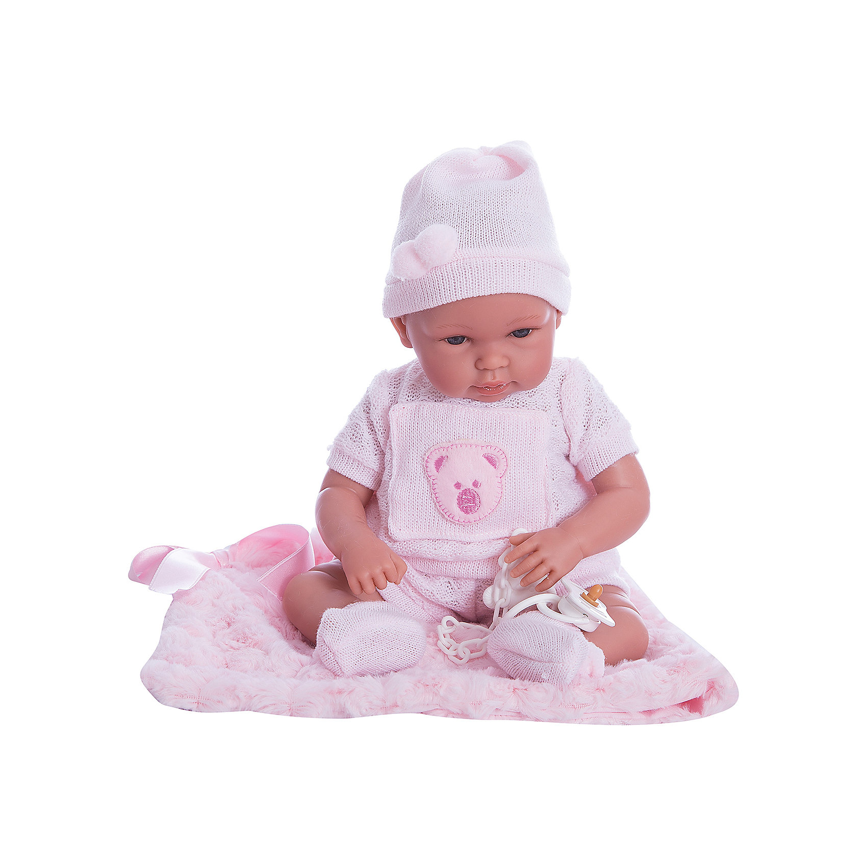 Пупс с одеялом, 36 см, LlorensКуклы<br>Характеристики:<br><br>• Предназначение: для сюжетно-ролевых игр<br>• Тип куклы: мягконабивная<br>• Пол куклы: девочка <br>• Волосы: прорисованные<br>• Материал: поливинилхлорид, пластик, текстиль<br>• Цвет: розовый<br>• Высота куклы: 36 см<br>• Комплектация: кукла, кофточка, шортики, чепчик, носочки, одеяло, соска с держателем<br>• Вес: 1 кг <br>• Размеры упаковки (Д*В*Ш): 22*43*10 см<br>• Упаковка: подарочная картонная коробка <br>• Особенности ухода: допускается деликатная стирка без использования красящих и отбеливающих средств предметов одежды куклы<br><br>Кукла младенец 36 см с одеялом без звука – пупс, производителем которого является всемирно известный испанский кукольный бренд Llorens. Куклы этой торговой марки имеют свою неповторимую внешность и целую линейку образов как пупсов, так и кукол-малышей. Игрушки выполнены из сочетания поливинилхлорида и пластика, что позволяет с высокой долей достоверности воссоздать физиологические и мимические особенности маленьких детей. При изготовлении кукол Llorens используются только сертифицированные материалы, безопасные и не вызывающие аллергических реакций. Волосы у кукол-пупсов прорисованные; ручки и ножки двигаются.<br>Кукла младенец 36 см с одеялом без звука выполнена в образе малышки: голубые глазки и пухлые щечки создают невероятно очаровательный и милый образ. В комплект одежды входит розовый костюмчик, состоящий из кофточки с короткими рукавами и аппликацией в виде мишки на груди, шортиков, выполненных ажурной вязкой, чепчик и носочки. В наборе имеется теплое одеяло-плед и соска с держателем.<br>Кукла младенец 36 см с одеялом без звука – это идеальный вариант для подарка к различным праздникам и торжествам.<br><br>Куклу младенца 36 см с одеялом без звука можно купить в нашем интернет-магазине.<br><br>Ширина мм: 22<br>Глубина мм: 43<br>Высота мм: 10<br>Вес г: 1000<br>Возраст от месяцев: 36<br>Возраст до месяцев: 84<br>Пол: Женский<br>Возраст: Детский<br>SKU: 5086930