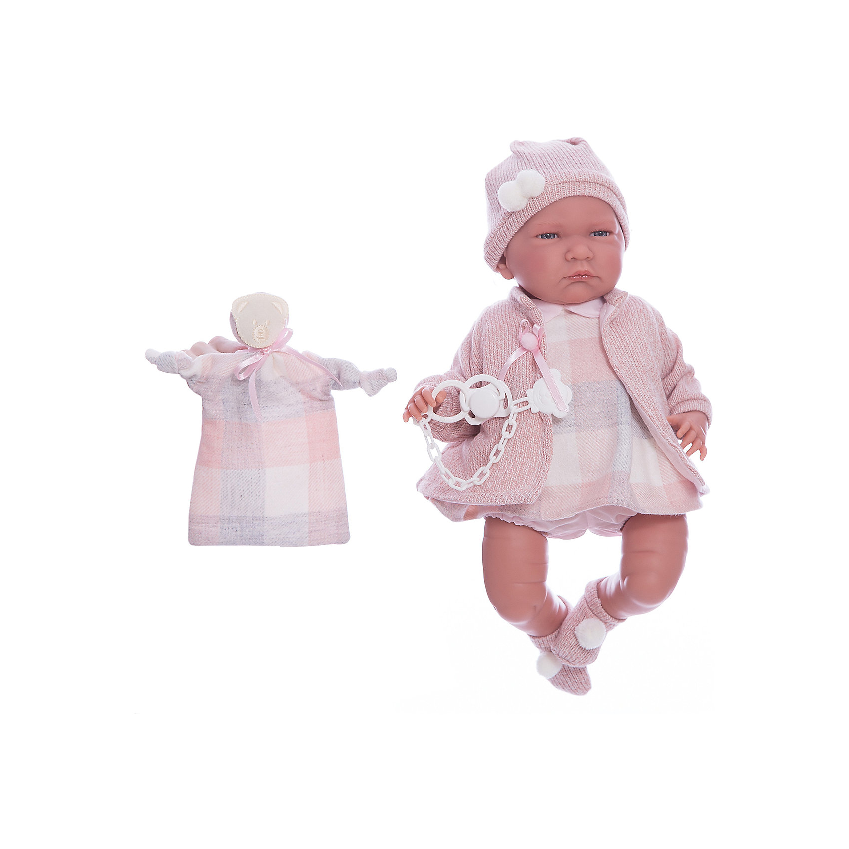 Кукла Лала, 40 см, LlorensКлассические куклы<br>Характеристики:<br><br>• Предназначение: для сюжетно-ролевых игр<br>• Тип куклы: мягконабивная<br>• Пол куклы: девочка <br>• Волосы: прорисованные<br>• Материал: поливинилхлорид, пластик, текстиль<br>• Цвет: розовый, молочный, серый<br>• Высота куклы: 40 см<br>• Комплектация: кукла, платьице, шапочка, кофточка, соска с держателем<br>• Вес: 1 кг 330 г<br>• Размеры упаковки (Д*В*Ш): 23*46*13 см<br>• Упаковка: подарочная картонная коробка <br>• Особенности ухода: допускается деликатная стирка без использования красящих и отбеливающих средств предметов одежды куклы<br><br>Кукла Лала Роза 40 см без звука – пупс, производителем которого является всемирно известный испанский кукольный бренд Llorens. Куклы этой торговой марки имеют свою неповторимую внешность и целую линейку образов как пупсов, так и кукол-малышей. Игрушки выполнены из сочетания поливинилхлорида и пластика, что позволяет с высокой долей достоверности воссоздать физиологические и мимические особенности маленьких детей. При изготовлении кукол Llorens используются только сертифицированные материалы, безопасные и не вызывающие аллергических реакций. Волосы у кукол-пупсов прорисованные; ручки и ножки двигаются.<br>Кукла Лала Роза 40 см без звука выполнена в образе малышки: голубые глазки и пухлые щечки создают невероятно очаровательный и милый образ. В комплект одежды входит клетчатое платьице с отложным воротничком, розовая кофточка из меланжевой пряжи розового цвета, шапочка и носочки. В наборе имеется пустышка с цепочкой-держателем и текстильный аксессуар с аппликацией в виде мишки.<br>Кукла Лала Роза 40 см без звука – это идеальный вариант для подарка к различным праздникам и торжествам.<br><br>Куклу Лалу Розу 40 см без звука можно купить в нашем интернет-магазине.<br><br>Ширина мм: 23<br>Глубина мм: 46<br>Высота мм: 13<br>Вес г: 1330<br>Возраст от месяцев: 36<br>Возраст до месяцев: 84<br>Пол: Женский<br>Возраст: Детский<br>SKU: 5086931