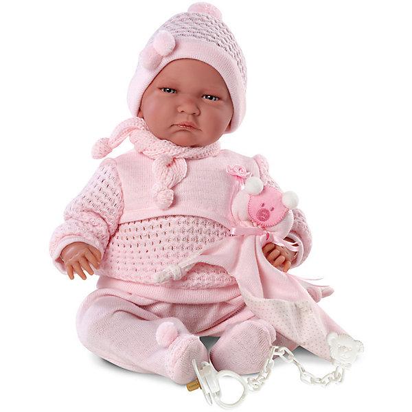 Кукла Лала, 40 см, LlorensБренды кукол<br>Характеристики:<br><br>• Предназначение: для сюжетно-ролевых игр<br>• Тип куклы: мягконабивная<br>• Пол куклы: девочка <br>• Волосы: прорисованные<br>• Материал: поливинилхлорид, пластик, текстиль<br>• Цвет: розовый<br>• Высота куклы: 40 см<br>• Комплектация: кукла, кофточка, ползунки, шапочка, шарфик, соска с держателем<br>• Вес: 1 кг 330 г<br>• Звуковые эффекты: плачет, произносит мама и папа<br>• Батарейки: з шт. типа AG13/LR44 (предусмотрены в комплекте)<br>• Размеры упаковки (Д*В*Ш): 23*46*13 см<br>• Упаковка: подарочная картонная коробка <br>• Особенности ухода: допускается деликатная стирка без использования красящих и отбеливающих средств предметов одежды куклы<br><br>Кукла Лала 40 см – пупс, производителем которого является всемирно известный испанский кукольный бренд Llorens. Куклы этой торговой марки имеют свою неповторимую внешность и целую линейку образов как пупсов, так и кукол-малышей. Игрушки выполнены из сочетания поливинилхлорида и пластика, что позволяет с высокой долей достоверности воссоздать физиологические и мимические особенности маленьких детей. При изготовлении кукол Llorens используются только сертифицированные материалы, безопасные и не вызывающие аллергических реакций. Волосы у кукол-пупсов прорисованные; ручки и ножки двигаются.<br>Кукла Лала 40 см выполнена в образе малышки: голубые глазки и пухлые щечки создают невероятно очаровательный и милый образ. В комплект одежды входит розовый костюмчик, состоящий из кофточки с длинными рукавами и ползунков. Дополняют образ шапочка и шарфик. В наборе имеется текстильный аксессуар с аппликацией в виде мишки. Кукла умеет плакать, а также говорить мама и папа.<br>Кукла Лала 40 см – это идеальный вариант для подарка к различным праздникам и торжествам.<br><br>Куклу Лалу 40 см можно купить в нашем интернет-магазине.<br><br>Ширина мм: 23<br>Глубина мм: 46<br>Высота мм: 13<br>Вес г: 1330<br>Возраст от месяцев: 36<br>Возраст до месяцев: 84<br>Пол: Женский<br>Во