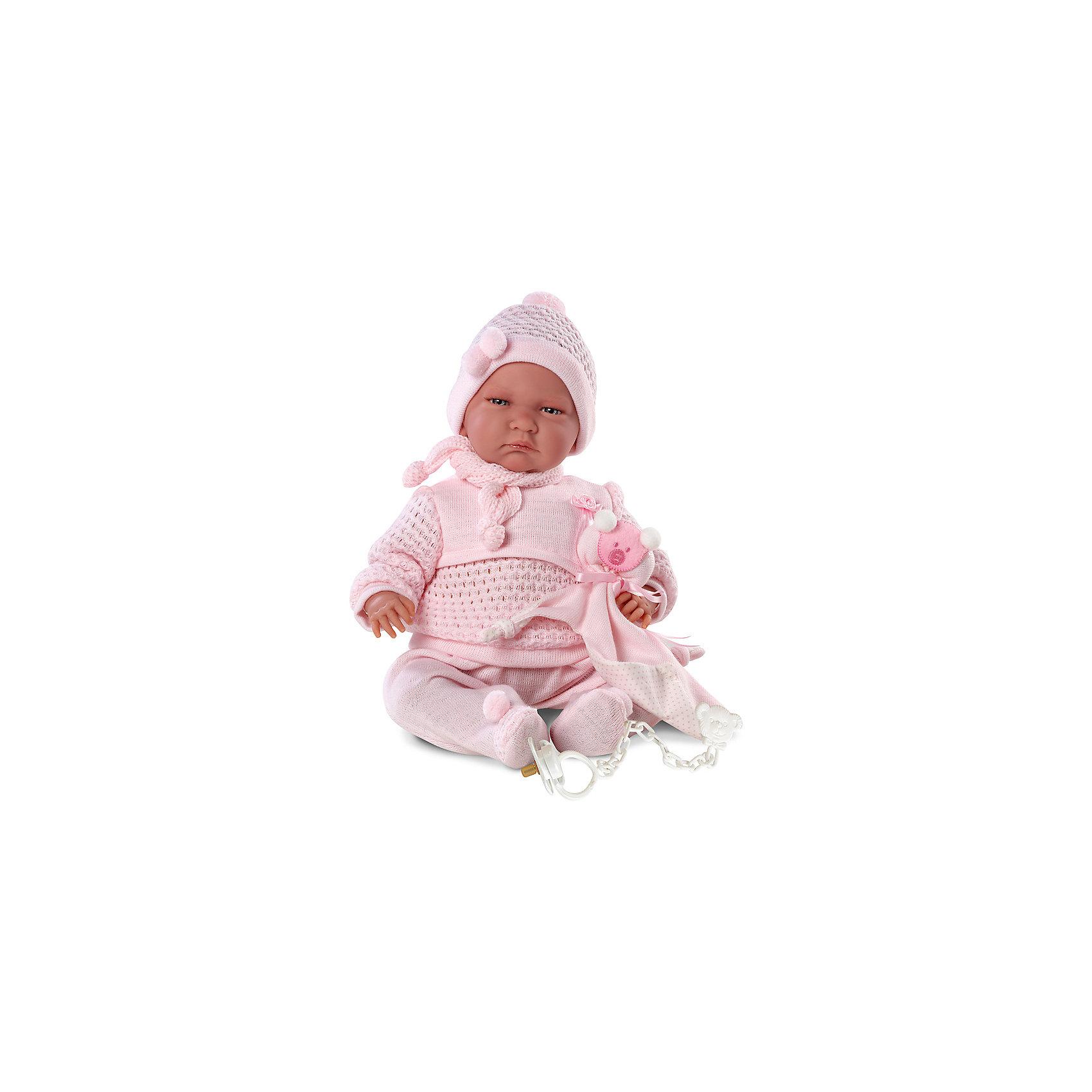 Кукла Лала, 40 см, LlorensКлассические куклы<br>Характеристики:<br><br>• Предназначение: для сюжетно-ролевых игр<br>• Тип куклы: мягконабивная<br>• Пол куклы: девочка <br>• Волосы: прорисованные<br>• Материал: поливинилхлорид, пластик, текстиль<br>• Цвет: розовый<br>• Высота куклы: 40 см<br>• Комплектация: кукла, кофточка, ползунки, шапочка, шарфик, соска с держателем<br>• Вес: 1 кг 330 г<br>• Звуковые эффекты: плачет, произносит мама и папа<br>• Батарейки: з шт. типа AG13/LR44 (предусмотрены в комплекте)<br>• Размеры упаковки (Д*В*Ш): 23*46*13 см<br>• Упаковка: подарочная картонная коробка <br>• Особенности ухода: допускается деликатная стирка без использования красящих и отбеливающих средств предметов одежды куклы<br><br>Кукла Лала 40 см – пупс, производителем которого является всемирно известный испанский кукольный бренд Llorens. Куклы этой торговой марки имеют свою неповторимую внешность и целую линейку образов как пупсов, так и кукол-малышей. Игрушки выполнены из сочетания поливинилхлорида и пластика, что позволяет с высокой долей достоверности воссоздать физиологические и мимические особенности маленьких детей. При изготовлении кукол Llorens используются только сертифицированные материалы, безопасные и не вызывающие аллергических реакций. Волосы у кукол-пупсов прорисованные; ручки и ножки двигаются.<br>Кукла Лала 40 см выполнена в образе малышки: голубые глазки и пухлые щечки создают невероятно очаровательный и милый образ. В комплект одежды входит розовый костюмчик, состоящий из кофточки с длинными рукавами и ползунков. Дополняют образ шапочка и шарфик. В наборе имеется текстильный аксессуар с аппликацией в виде мишки. Кукла умеет плакать, а также говорить мама и папа.<br>Кукла Лала 40 см – это идеальный вариант для подарка к различным праздникам и торжествам.<br><br>Куклу Лалу 40 см можно купить в нашем интернет-магазине.<br><br>Ширина мм: 23<br>Глубина мм: 46<br>Высота мм: 13<br>Вес г: 1330<br>Возраст от месяцев: 36<br>Возраст до месяцев: 84<br>Пол: Женский