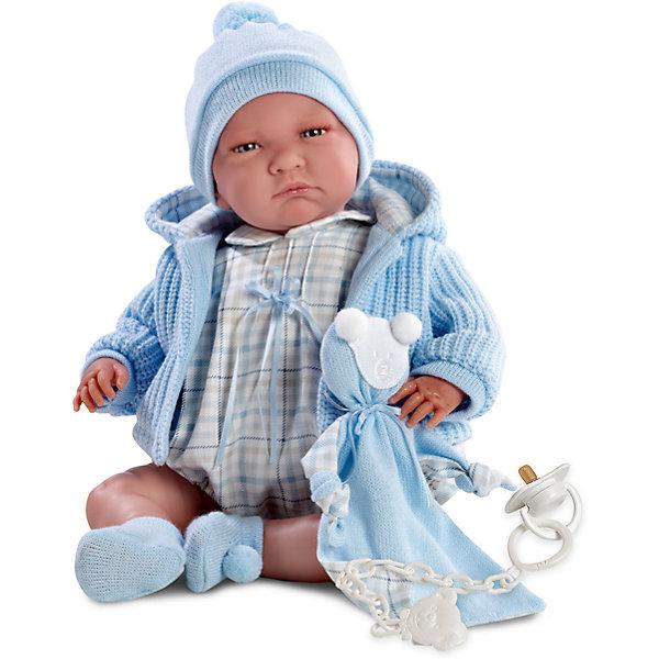 Кукла Лала, 40 см, LlorensКуклы<br>Характеристики:<br><br>• Предназначение: для сюжетно-ролевых игр<br>• Тип куклы: мягконабивная<br>• Пол куклы: мальчик <br>• Волосы: прорисованные<br>• Материал: поливинилхлорид, пластик, текстиль<br>• Цвет: голубой, молочный, бежевый<br>• Высота куклы: 40 см<br>• Комплектация: кукла, кофточка с капюшоном, комбинезон, шапочка, носочки, соска с держателем<br>• Вес: 1 кг 330 г<br>• Размеры упаковки (Д*В*Ш): 23*46*13 см<br>• Упаковка: подарочная картонная коробка <br>• Особенности ухода: допускается деликатная стирка без использования красящих и отбеливающих средств предметов одежды куклы<br><br>Кукла Лало 40 см без звука – пупс, производителем которого является всемирно известный испанский кукольный бренд Llorens. Куклы этой торговой марки имеют свою неповторимую внешность и целую линейку образов как пупсов, так и кукол-малышей. Игрушки выполнены из сочетания поливинилхлорида и пластика, что позволяет с высокой долей достоверности воссоздать физиологические и мимические особенности маленьких детей. При изготовлении кукол Llorens используются только сертифицированные материалы, безопасные и не вызывающие аллергических реакций. Волосы у кукол-пупсов прорисованные; ручки и ножки двигаются.<br>Кукла Лало 40 смбез звука выполнена в образе малыша: голубые глазки и пухлые щечки создают невероятно очаровательный и милый образ. В комплект одежды входит легкий комбинезончик в клеточку, вязаная кофточка с капюшоном, шапочка и носочки. В наборе имеется текстильный аксессуар с аппликацией в виде мишки. <br>Кукла Лало 40 см без звука – это идеальный вариант для подарка к различным праздникам и торжествам.<br><br>Куклу Лало 40 см без звука можно купить в нашем интернет-магазине.<br><br>Ширина мм: 23<br>Глубина мм: 46<br>Высота мм: 13<br>Вес г: 1330<br>Возраст от месяцев: 36<br>Возраст до месяцев: 84<br>Пол: Женский<br>Возраст: Детский<br>SKU: 5086933