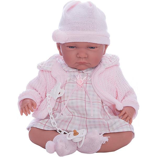 Кукла ЛалаРоза, 40 см, LlorensКуклы<br>Характеристики:<br><br>• Предназначение: для сюжетно-ролевых игр<br>• Тип куклы: мягконабивная<br>• Пол куклы: девочка <br>• Волосы: прорисованные<br>• Материал: поливинилхлорид, пластик, текстиль<br>• Цвет: розовый, молочный, бежевый<br>• Высота куклы: 40 см<br>• Комплектация: кукла, платьице, шапочка, кофточка, соска с держателем<br>• Вес: 1 кг 330 г<br>• Размеры упаковки (Д*В*Ш): 23*46*13 см<br>• Упаковка: подарочная картонная коробка <br>• Особенности ухода: допускается деликатная стирка без использования красящих и отбеливающих средств предметов одежды куклы<br><br>Кукла Лала Роза 40 см – пупс, производителем которого является всемирно известный испанский кукольный бренд Llorens. Куклы этой торговой марки имеют свою неповторимую внешность и целую линейку образов как пупсов, так и кукол-малышей. Игрушки выполнены из сочетания поливинилхлорида и пластика, что позволяет с высокой долей достоверности воссоздать физиологические и мимические особенности маленьких детей. При изготовлении кукол Llorens используются только сертифицированные материалы, безопасные и не вызывающие аллергических реакций. Волосы у кукол-пупсов прорисованные; ручки и ножки двигаются.<br>Кукла Лала Роза 40 см выполнена в образе малышки: голубые глазки и пухлые щечки создают невероятно очаровательный и милый образ. В комплект одежды входит клетчатое платьице с отложным воротничком, вязаная кофточка с капюшоном, шапочка и носочки. В наборе имеется пустышка с цепочкой-держателем.<br>Кукла Лала Роза 40 см – это идеальный вариант для подарка к различным праздникам и торжествам.<br><br>Куклу Лалу Розу 40 см можно купить в нашем интернет-магазине.<br><br>Ширина мм: 23<br>Глубина мм: 46<br>Высота мм: 13<br>Вес г: 1330<br>Возраст от месяцев: 36<br>Возраст до месяцев: 84<br>Пол: Женский<br>Возраст: Детский<br>SKU: 5086934