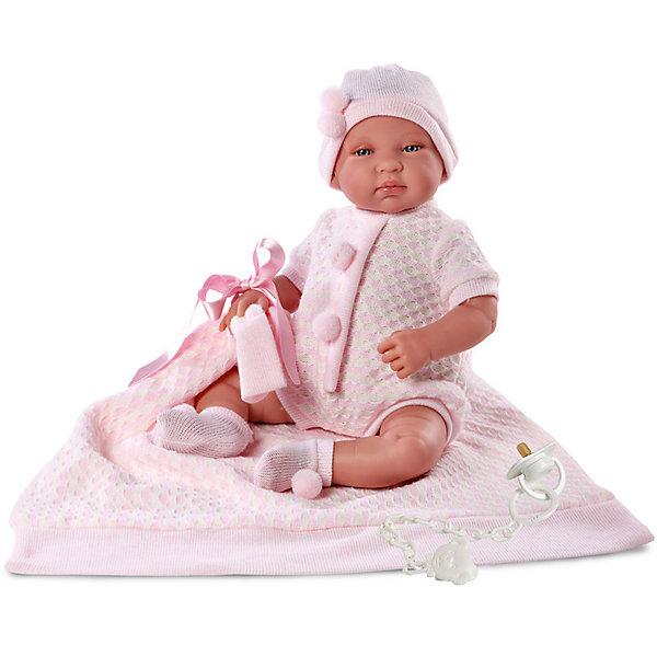 Пупс с одеялом, 43 см, LlorensКуклы<br>Характеристики:<br><br>• Предназначение: для сюжетно-ролевых игр<br>• Тип куклы: мягконабивная<br>• Пол куклы: девочка <br>• Волосы: прорисованные<br>• Материал: поливинилхлорид, пластик, текстиль<br>• Цвет: розовый<br>• Высота куклы: 43 см<br>• Комплектация: кукла, кофточка, шортики, чепчик, носочки, одеяло, соска с держателем<br>• Вес: 1 кг 400 г<br>• Размеры упаковки (Д*В*Ш): 23*46*13 см<br>• Упаковка: подарочная картонная коробка <br>• Особенности ухода: допускается деликатная стирка без использования красящих и отбеливающих средств предметов одежды куклы<br><br>Кукла младенец 43 см без звука с одеялом – пупс, производителем которого является всемирно известный испанский кукольный бренд Llorens. Куклы этой торговой марки имеют свою неповторимую внешность и целую линейку образов как пупсов, так и кукол-малышей. Игрушки выполнены из сочетания поливинилхлорида и пластика, что позволяет с высокой долей достоверности воссоздать физиологические и мимические особенности маленьких детей. При изготовлении кукол Llorens используются только сертифицированные материалы, безопасные и не вызывающие аллергических реакций. Волосы у кукол-пупсов прорисованные; ручки и ножки двигаются.<br>Кукла младенец 43 см без звука с одеялом выполнена в образе малышки: голубые глазки и пухлые щечки создают невероятно очаровательный и милый образ. В комплект одежды входит розовый комбинезончик, выполненный ажурной вязкой, чепчик и носочки с помпончиками. В наборе имеется одеяло-плед и соска с держателем.<br>Кукла младенец 43 см с одеялом без звука – это идеальный вариант для подарка к различным праздникам и торжествам.<br><br>Куклу младенца 43 см без звука с одеялом можно купить в нашем интернет-магазине.<br><br>Ширина мм: 23<br>Глубина мм: 46<br>Высота мм: 13<br>Вес г: 1400<br>Возраст от месяцев: 36<br>Возраст до месяцев: 84<br>Пол: Женский<br>Возраст: Детский<br>SKU: 5086935
