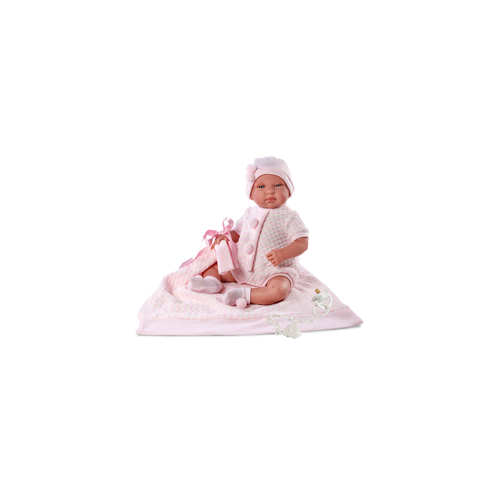 Пупс с одеялом, 43 см, LlorensКуклы-пупсы<br>Характеристики:<br><br>• Предназначение: для сюжетно-ролевых игр<br>• Тип куклы: мягконабивная<br>• Пол куклы: девочка <br>• Волосы: прорисованные<br>• Материал: поливинилхлорид, пластик, текстиль<br>• Цвет: розовый<br>• Высота куклы: 43 см<br>• Комплектация: кукла, кофточка, шортики, чепчик, носочки, одеяло, соска с держателем<br>• Вес: 1 кг 400 г<br>• Размеры упаковки (Д*В*Ш): 23*46*13 см<br>• Упаковка: подарочная картонная коробка <br>• Особенности ухода: допускается деликатная стирка без использования красящих и отбеливающих средств предметов одежды куклы<br><br>Кукла младенец 43 см без звука с одеялом – пупс, производителем которого является всемирно известный испанский кукольный бренд Llorens. Куклы этой торговой марки имеют свою неповторимую внешность и целую линейку образов как пупсов, так и кукол-малышей. Игрушки выполнены из сочетания поливинилхлорида и пластика, что позволяет с высокой долей достоверности воссоздать физиологические и мимические особенности маленьких детей. При изготовлении кукол Llorens используются только сертифицированные материалы, безопасные и не вызывающие аллергических реакций. Волосы у кукол-пупсов прорисованные; ручки и ножки двигаются.<br>Кукла младенец 43 см без звука с одеялом выполнена в образе малышки: голубые глазки и пухлые щечки создают невероятно очаровательный и милый образ. В комплект одежды входит розовый комбинезончик, выполненный ажурной вязкой, чепчик и носочки с помпончиками. В наборе имеется одеяло-плед и соска с держателем.<br>Кукла младенец 43 см с одеялом без звука – это идеальный вариант для подарка к различным праздникам и торжествам.<br><br>Куклу младенца 43 см без звука с одеялом можно купить в нашем интернет-магазине.<br><br>Ширина мм: 23<br>Глубина мм: 46<br>Высота мм: 13<br>Вес г: 1400<br>Возраст от месяцев: 36<br>Возраст до месяцев: 84<br>Пол: Женский<br>Возраст: Детский<br>SKU: 5086935