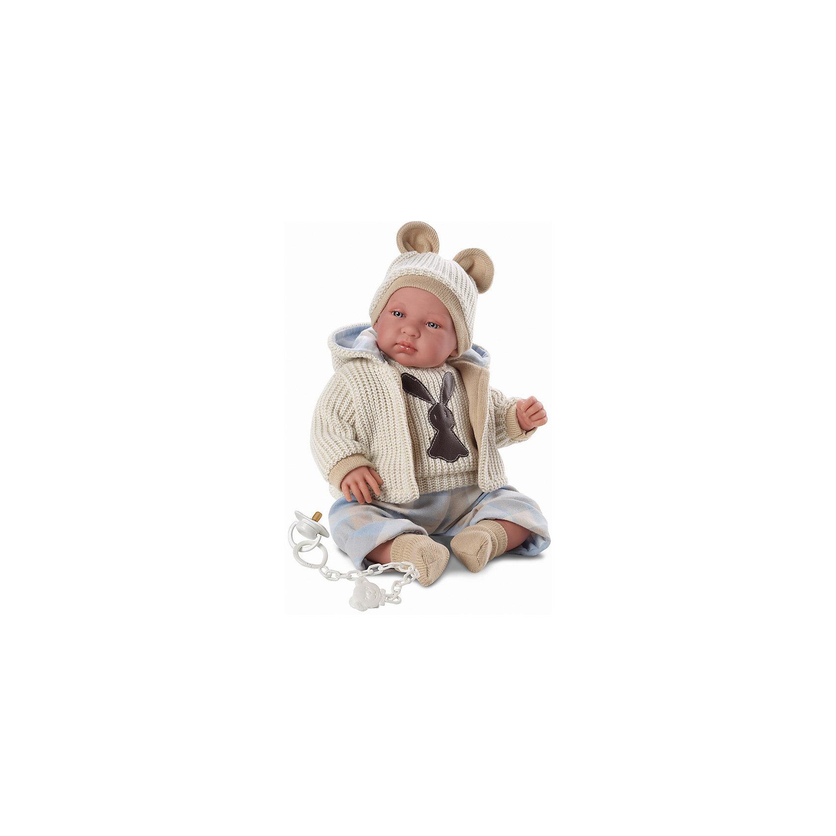 Пупс, 43 см, LlorensКуклы-пупсы<br>Характеристики:<br><br>• Предназначение: для сюжетно-ролевых игр<br>• Тип куклы: мягконабивная<br>• Пол куклы: мальчик <br>• Волосы: прорисованные<br>• Материал: поливинилхлорид, пластик, текстиль<br>• Цвет: голубой, бежевый<br>• Высота куклы: 43 см<br>• Комплектация: кукла, кофточка с капюшоном, штанишки, шапочка, носочки, соска с держателем<br>• Вес: 1 кг 400 г<br>• Размеры упаковки (Д*В*Ш): 23*46*13 см<br>• Упаковка: подарочная картонная коробка <br>• Особенности ухода: допускается деликатная стирка без использования красящих и отбеливающих средств предметов одежды куклы<br><br>Кукла младенец 43 см – пупс, производителем которого является всемирно известный испанский кукольный бренд Llorens. Куклы этой торговой марки имеют свою неповторимую внешность и целую линейку образов как пупсов, так и кукол-малышей. Игрушки выполнены из сочетания поливинилхлорида и пластика, что позволяет с высокой долей достоверности воссоздать физиологические и мимические особенности маленьких детей. При изготовлении кукол Llorens используются только сертифицированные материалы, безопасные и не вызывающие аллергических реакций. Волосы у кукол-пупсов прорисованные; ручки и ножки двигаются.<br>Кукла младенец 43 см выполнена в образе малыша: голубые глазки и пухлые щечки создают невероятно очаровательный и милый образ. В комплект одежды входит кофточка с аппликацией и верхняя кофточка с капюшоном, штанишки, шапка с двумя помпонами и носочки. У малыша имеется соска с цепочкой-держателем.. <br>Кукла младенец 43 см – это идеальный вариант для подарка к различным праздникам и торжествам.<br><br>Куклу младенца 43 см можно купить в нашем интернет-магазине.<br><br>Ширина мм: 23<br>Глубина мм: 46<br>Высота мм: 13<br>Вес г: 1400<br>Возраст от месяцев: 36<br>Возраст до месяцев: 84<br>Пол: Женский<br>Возраст: Детский<br>SKU: 5086938