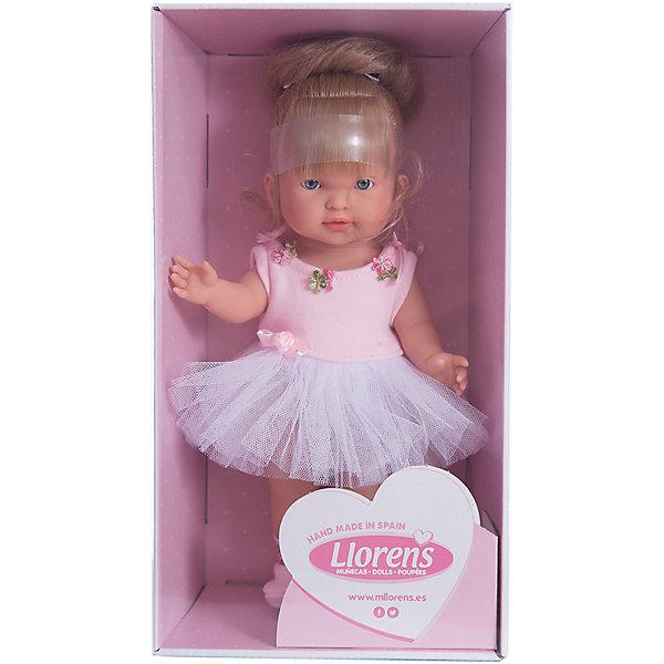 Кукла Балерина Валерия, 28 см, LlorensБренды кукол<br>Характеристики:<br><br>• Предназначение: для сюжетно-ролевых игр<br>• Тип куклы: мягконабивная<br>• Пол куклы: девочка <br>• Цвет волос: светло-русые<br>• Материал: поливинилхлорид, пластик, нейлон, текстиль<br>• Цвет: розовый, белый<br>• Высота куклы: 28 см<br>• Комплектация: кукла, пачка, пуанты<br>• Вес: 660 г<br>• Размеры упаковки (Д*В*Ш): 20*37*10 см<br>• Упаковка: подарочная картонная коробка <br>• Особенности ухода: допускается деликатная стирка без использования красящих и отбеливающих средств предметов одежды куклы<br><br>Кукла балерина Валерия 28 см – кукла, производителем которого является всемирно известный испанский кукольный бренд Llorens. Куклы этой торговой марки имеют свою неповторимую внешность и целую линейку образов как пупсов, так и кукол-малышей. Игрушки выполнены из сочетания поливинилхлорида и пластика, что позволяет с высокой долей достоверности воссоздать физиологические и мимические особенности маленьких детей. При изготовлении кукол Llorens используются только сертифицированные материалы, безопасные и не вызывающие аллергических реакций. Волосы у кукол отличаются густотой, шелковистостью и блеском, при расчесывании они не выпадают и не ломаются.<br>Кукла балерина Валерия 28 см выполнена в образе малышки: у нее светлые волосы, собранные в пучок, по бокам выпущены две пряди. Комплект одежды соответствует образу балерины: белоснежная пачка с розовым топом, декорированным цветочками и атласными лентами. На ножках у Валерии – пуанты. <br>Кукла балерина Валерия 28 см – это идеальный вариант для подарка к различным праздникам и торжествам.<br><br>Куклу балерину Валерию 28 см можно купить в нашем интернет-магазине.<br><br>Ширина мм: 20<br>Глубина мм: 37<br>Высота мм: 10<br>Вес г: 660<br>Возраст от месяцев: 36<br>Возраст до месяцев: 84<br>Пол: Женский<br>Возраст: Детский<br>SKU: 5086940