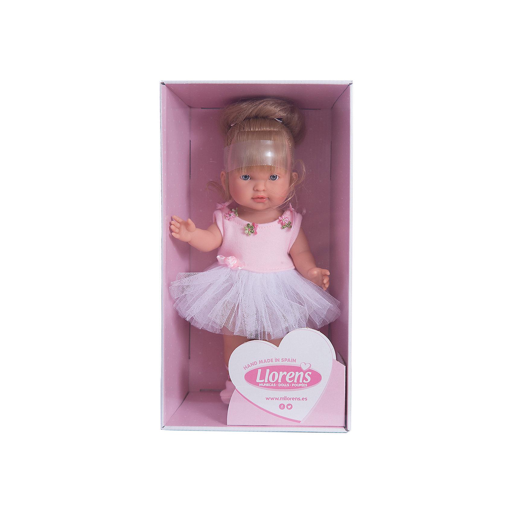 Кукла Балерина Валерия, 28 см, LlorensКлассические куклы<br>Характеристики:<br><br>• Предназначение: для сюжетно-ролевых игр<br>• Тип куклы: мягконабивная<br>• Пол куклы: девочка <br>• Цвет волос: светло-русые<br>• Материал: поливинилхлорид, пластик, нейлон, текстиль<br>• Цвет: розовый, белый<br>• Высота куклы: 28 см<br>• Комплектация: кукла, пачка, пуанты<br>• Вес: 660 г<br>• Размеры упаковки (Д*В*Ш): 20*37*10 см<br>• Упаковка: подарочная картонная коробка <br>• Особенности ухода: допускается деликатная стирка без использования красящих и отбеливающих средств предметов одежды куклы<br><br>Кукла балерина Валерия 28 см – кукла, производителем которого является всемирно известный испанский кукольный бренд Llorens. Куклы этой торговой марки имеют свою неповторимую внешность и целую линейку образов как пупсов, так и кукол-малышей. Игрушки выполнены из сочетания поливинилхлорида и пластика, что позволяет с высокой долей достоверности воссоздать физиологические и мимические особенности маленьких детей. При изготовлении кукол Llorens используются только сертифицированные материалы, безопасные и не вызывающие аллергических реакций. Волосы у кукол отличаются густотой, шелковистостью и блеском, при расчесывании они не выпадают и не ломаются.<br>Кукла балерина Валерия 28 см выполнена в образе малышки: у нее светлые волосы, собранные в пучок, по бокам выпущены две пряди. Комплект одежды соответствует образу балерины: белоснежная пачка с розовым топом, декорированным цветочками и атласными лентами. На ножках у Валерии – пуанты. <br>Кукла балерина Валерия 28 см – это идеальный вариант для подарка к различным праздникам и торжествам.<br><br>Куклу балерину Валерию 28 см можно купить в нашем интернет-магазине.<br><br>Ширина мм: 20<br>Глубина мм: 37<br>Высота мм: 10<br>Вес г: 660<br>Возраст от месяцев: 36<br>Возраст до месяцев: 84<br>Пол: Женский<br>Возраст: Детский<br>SKU: 5086940