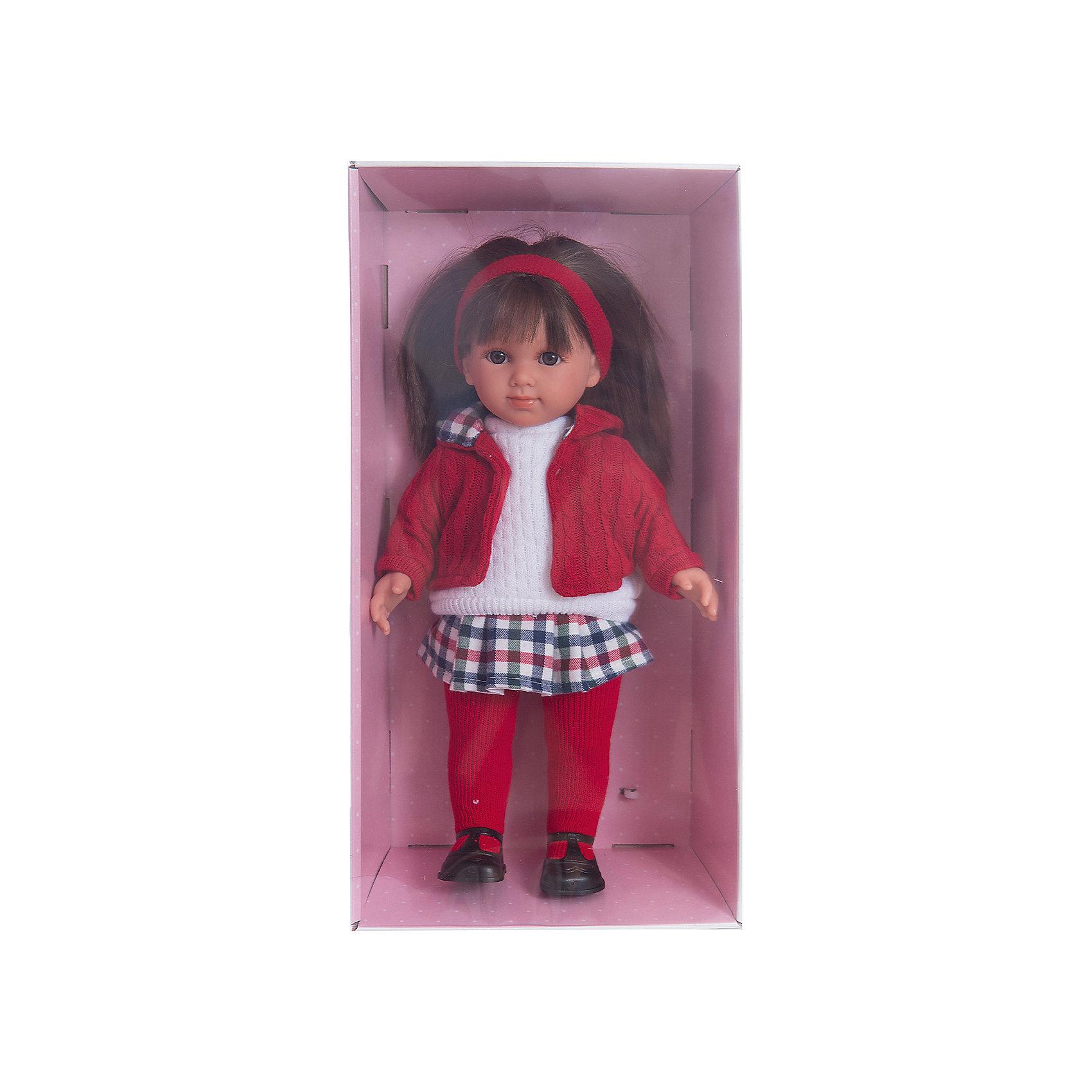 Кукла Елена, 35 см, LlorensБренды кукол<br>Характеристики:<br><br>• Предназначение: для сюжетно-ролевых игр<br>• Тип куклы: мягконабивная<br>• Пол куклы: девочка <br>• Цвет волос: темно-русые<br>• Материал: поливинилхлорид, пластик, нейлон, текстиль<br>• Цвет: красный, белый, черный<br>• Высота куклы: 35 см<br>• Комплектация: кукла, юбка, свитер, курточка, колготки, туфли<br>• Вес: 950 г<br>• Размеры упаковки (Д*В*Ш): 22*43*10 см<br>• Упаковка: подарочная картонная коробка <br>• Особенности ухода: допускается деликатная стирка без использования красящих и отбеливающих средств предметов одежды куклы<br><br>Кукла Елена 35 см – кукла, производителем которого является всемирно известный испанский кукольный бренд Llorens. Куклы этой торговой марки имеют свою неповторимую внешность и целую линейку образов как пупсов, так и кукол-малышей. Игрушки выполнены из сочетания поливинилхлорида и пластика, что позволяет с высокой долей достоверности воссоздать физиологические и мимические особенности маленьких детей. При изготовлении кукол Llorens используются только сертифицированные материалы, безопасные и не вызывающие аллергических реакций. Волосы у кукол отличаются густотой, шелковистостью и блеском, при расчесывании они не выпадают и не ломаются.<br>Кукла Елена 35 см выполнена в образе девочки: у нее карие глаза и прямые длинные волосы, придерживаемые красной атласной лентой. Комплект теплой одежды состоит из вязаного белого свитера, клетчатой юбки, красной курточки и колготочек. На ножках у Елены – черные туфельки с ремешками. <br>Кукла Елена 35 см – это идеальный вариант для подарка к различным праздникам и торжествам.<br><br>Куклу Елену 35 см можно купить в нашем интернет-магазине.<br><br>Ширина мм: 22<br>Глубина мм: 43<br>Высота мм: 10<br>Вес г: 950<br>Возраст от месяцев: 36<br>Возраст до месяцев: 84<br>Пол: Женский<br>Возраст: Детский<br>SKU: 5086944