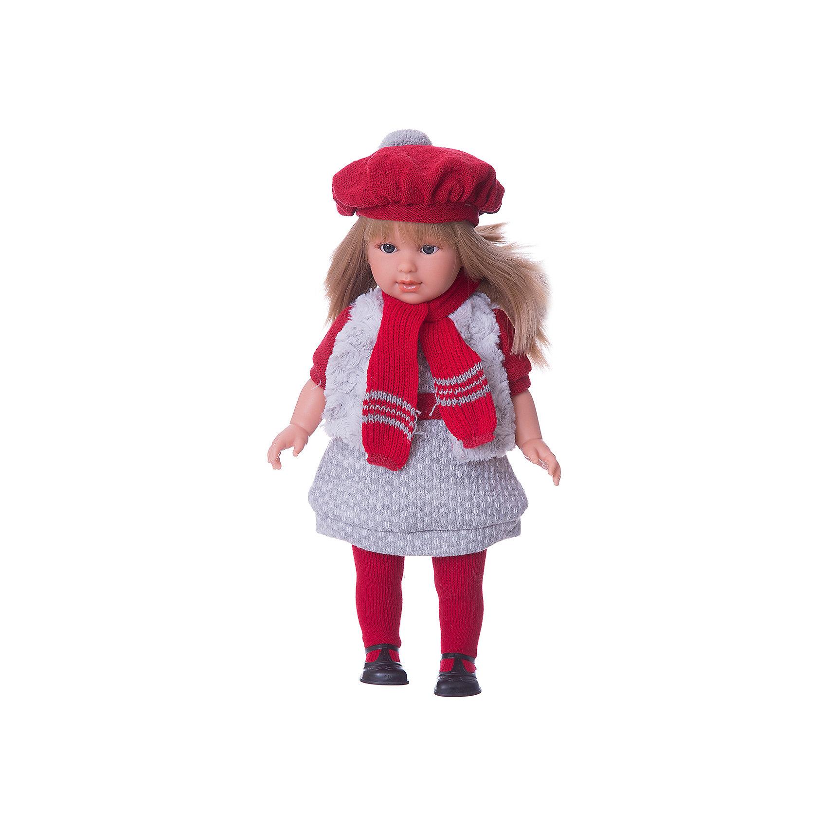 Кукла  Мартина, 40 см, LlorensБренды кукол<br>Характеристики:<br><br>• Предназначение: для сюжетно-ролевых игр<br>• Тип куклы: мягконабивная<br>• Пол куклы: девочка <br>• Цвет волос: блондинка<br>• Материал: поливинилхлорид, пластик, нейлон, текстиль<br>• Цвет: серый, красный<br>• Высота куклы: 40 см<br>• Комплектация: кукла, платье, меховая жилетка, берет, шарф, колготки, туфли<br>• Вес: 1 кг 200 г<br>• Размеры упаковки (Д*В*Ш): 23*46*13 см<br>• Упаковка: подарочная картонная коробка <br>• Особенности ухода: допускается деликатная стирка без использования красящих и отбеливающих средств предметов одежды куклы<br><br>Кукла Мартина 40 см – кукла, производителем которого является всемирно известный испанский кукольный бренд Llorens. Куклы этой торговой марки имеют свою неповторимую внешность и целую линейку образов как пупсов, так и кукол-малышей. Игрушки выполнены из сочетания поливинилхлорида и пластика, что позволяет с высокой долей достоверности воссоздать физиологические и мимические особенности маленьких детей. При изготовлении кукол Llorens используются только сертифицированные материалы, безопасные и не вызывающие аллергических реакций. Волосы у кукол отличаются густотой, шелковистостью и блеском, при расчесывании они не выпадают и не ломаются.<br>Кукла Мартина 40 см выполнена в образе девочки: у нее прямые длинные волосы, которые можно укладывать в различные прически. Комплект теплой одежды состоит из комбинированного платья, меховой жилетки, колготочек. Дополняют стильный Мартины объемный яркий берет и шарф. На ножках у Мартины – черные туфельки с ремешками. <br>Кукла Мартина 40 см – это идеальный вариант для подарка к различным праздникам и торжествам.<br><br>Куклу Мартину 40 см можно купить в нашем интернет-магазине.<br><br>Ширина мм: 23<br>Глубина мм: 46<br>Высота мм: 13<br>Вес г: 1200<br>Возраст от месяцев: 36<br>Возраст до месяцев: 84<br>Пол: Женский<br>Возраст: Детский<br>SKU: 5086946