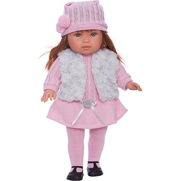 Кукла Лаура, 45 см, LlorensКуклы<br>Характеристики:<br><br>• Предназначение: для сюжетно-ролевых игр<br>• Тип куклы: мягконабивная<br>• Пол куклы: девочка <br>• Цвет волос: шатенка<br>• Материал: поливинилхлорид, пластик, нейлон, текстиль<br>• Цвет: серый, розовый<br>• Высота куклы: 45 см<br>• Комплектация: кукла, платье, меховая жилетка, шапочка, колготки, туфли<br>• Вес: 1 кг 150 г<br>• Размеры упаковки (Д*В*Ш): 23*46*13 см<br>• Упаковка: подарочная картонная коробка <br>• Особенности ухода: допускается деликатная стирка без использования красящих и отбеливающих средств предметов одежды куклы<br><br>Кукла Лаура 45 см – кукла, производителем которого является всемирно известный испанский кукольный бренд Llorens. Куклы этой торговой марки имеют свою неповторимую внешность и целую линейку образов как пупсов, так и кукол-малышей. Игрушки выполнены из сочетания поливинилхлорида и пластика, что позволяет с высокой долей достоверности воссоздать физиологические и мимические особенности маленьких детей. При изготовлении кукол Llorens используются только сертифицированные материалы, безопасные и не вызывающие аллергических реакций. Волосы у кукол отличаются густотой, шелковистостью и блеском, при расчесывании они не выпадают и не ломаются.<br>Кукла Мартина 45 см выполнена в образе девочки: у нее голубые глаза и прямые длинные волосы, которые можно укладывать в различные прически. Комплект теплой одежды состоит из комбинированного платья, шапочки и колготочек. Дополняют стильный Лауры меховой серый жилет. На ножках у Лауры – черные туфельки с ремешками. <br>Кукла Лаура 45 см – это идеальный вариант для подарка к различным праздникам и торжествам.<br><br>Куклу Лауру 45 см можно купить в нашем интернет-магазине.<br>Ширина мм: 23; Глубина мм: 46; Высота мм: 13; Вес г: 1150; Возраст от месяцев: 36; Возраст до месяцев: 84; Пол: Женский; Возраст: Детский; SKU: 5086947;