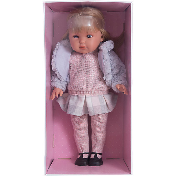 Кукла Лаура 45 см, LlorensБренды кукол<br>Характеристики:<br><br>• Предназначение: для сюжетно-ролевых игр<br>• Тип куклы: мягконабивная<br>• Пол куклы: девочка <br>• Цвет волос: блондинка<br>• Материал: поливинилхлорид, пластик, нейлон, текстиль<br>• Цвет: серый, розовый, белый<br>• Высота куклы: 45 см<br>• Комплектация: кукла, платье, меховая жилетка, шапочка, колготки, туфли<br>• Вес: 1 кг 150 г<br>• Размеры упаковки (Д*В*Ш): 23*46*13 см<br>• Упаковка: подарочная картонная коробка <br>• Особенности ухода: допускается деликатная стирка без использования красящих и отбеливающих средств предметов одежды куклы<br><br>Кукла Лаура 45 см – кукла, производителем которого является всемирно известный испанский кукольный бренд Llorens. Куклы этой торговой марки имеют свою неповторимую внешность и целую линейку образов как пупсов, так и кукол-малышей. Игрушки выполнены из сочетания поливинилхлорида и пластика, что позволяет с высокой долей достоверности воссоздать физиологические и мимические особенности маленьких детей. При изготовлении кукол Llorens используются только сертифицированные материалы, безопасные и не вызывающие аллергических реакций. Волосы у кукол отличаются густотой, шелковистостью и блеском, при расчесывании они не выпадают и не ломаются.<br>Кукла Мартина 45 см выполнена в образе девочки: у нее голубые глаза и прямые длинные волосы, которые можно укладывать в различные прически. Комплект теплой одежды состоит из вязаного свитера, юбки в клетку и колготочек. Дополняют стильный Лауры меховая шубка с отложным воротником. На ножках у Лауры – черные туфельки с ремешками. <br>Кукла Лаура 45 см – это идеальный вариант для подарка к различным праздникам и торжествам.<br><br>Куклу Лауру 45 см можно купить в нашем интернет-магазине.<br><br>Ширина мм: 23<br>Глубина мм: 46<br>Высота мм: 13<br>Вес г: 1150<br>Возраст от месяцев: 36<br>Возраст до месяцев: 84<br>Пол: Женский<br>Возраст: Детский<br>SKU: 5086948
