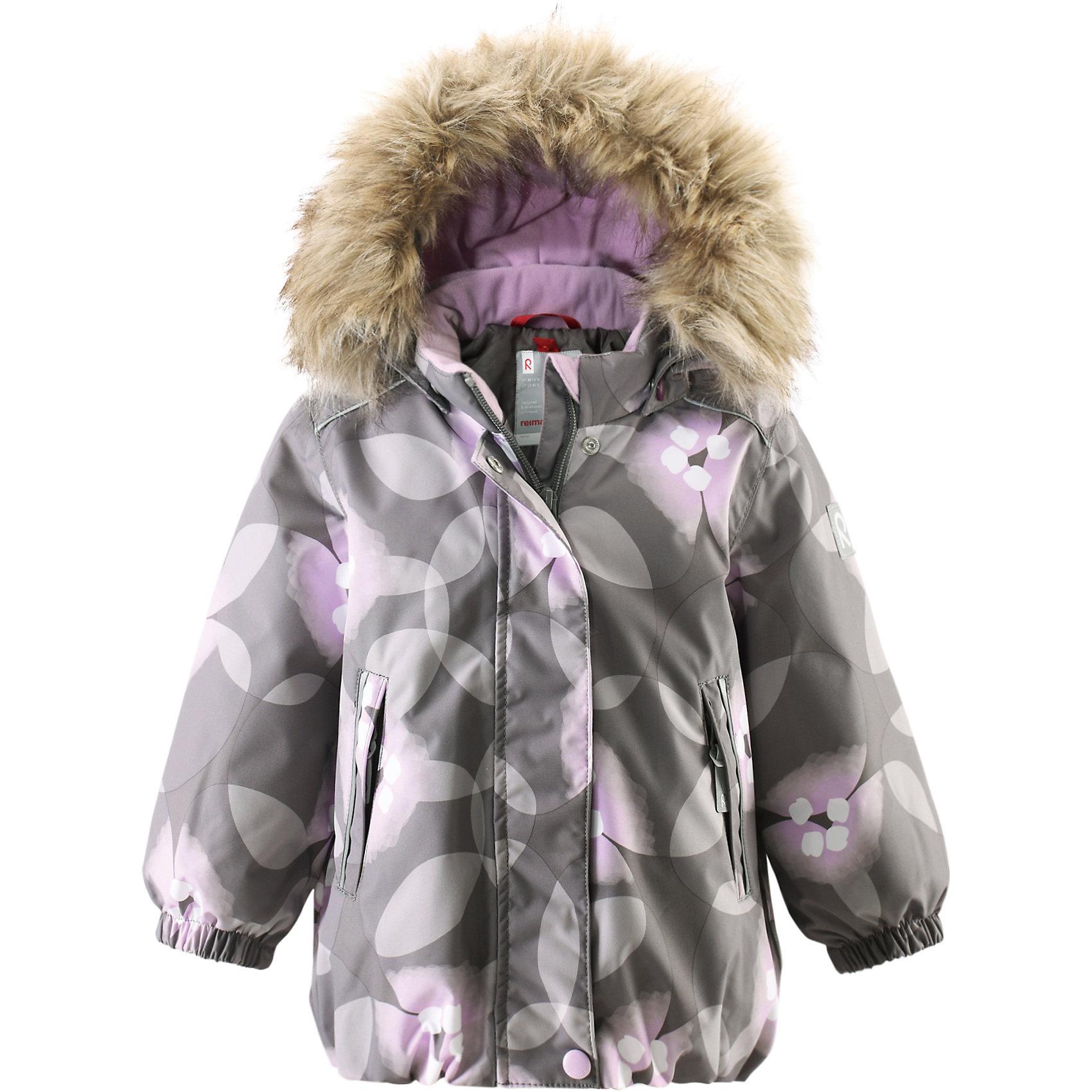 Куртка Muhvi для девочки Reimatec® ReimaКуртка для девочки от финского бренда Reimatec® Reima.<br>Зимняя куртка для малышей. Все швы проклеены и водонепроницаемы. Водо- и ветронепроницаемый, «дышащий» и грязеотталкивающий материал. Крой для девочек. Гладкая подкладка из полиэстра. Безопасный съемный капюшон с отсоединяемой меховой каймой из искусственного меха. Эластичный пояс сзади. Эластичные подол и манжеты. Регулируемый подол. Два кармана на молнии. Принт по всей поверхности. Безопасные светоотражающие детали.<br>Рекомендация по уходу:<br>Стирать по отдельности, вывернув наизнанку. Перед стиркой отстегните искусственный мех. Застегнуть молнии и липучки. Стирать моющим средством, не содержащим отбеливающие вещества. Полоскать без специального средства. Во избежание изменения цвета изделие необходимо вынуть из стиральной машинки незамедлительно после окончания программы стирки. Можно сушить в сушильном шкафу или центрифуге (макс. 40° C).<br>Состав:<br>100% ПЭ, ПУ-покрытие<br>Вес утеплителя:160 g<br><br>Ширина мм: 356<br>Глубина мм: 10<br>Высота мм: 245<br>Вес г: 519<br>Цвет: серый<br>Возраст от месяцев: 6<br>Возраст до месяцев: 9<br>Пол: Женский<br>Возраст: Детский<br>Размер: 74,98,92,86,80<br>SKU: 5086971