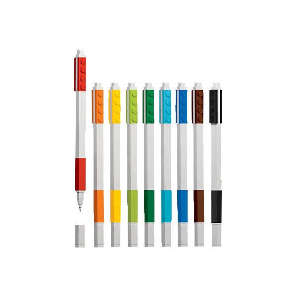 Набор гелевых ручек, 9 шт., LEGOLEGO Товары для фанатов<br>Набор гелевых ручек из уникальной коллекции канцелярских принадлежностей LEGO состоит из 9-ти ручек (цвета чернил: красный, оранжевый, желтый, салатовый, зеленый, голубой, синий, коричневый, чёрный). Ручка имеет пластиковый корпус с резиновой манжеткой, которая снижает напряжение руки. Ручка обеспечивает легкое и мягкое письмо, чернила быстро высыхают, не размазываются.<br><br>Ширина мм: 183<br>Глубина мм: 101<br>Высота мм: 22<br>Вес г: 106<br>Возраст от месяцев: 72<br>Возраст до месяцев: 144<br>Пол: Унисекс<br>Возраст: Детский<br>SKU: 5087581
