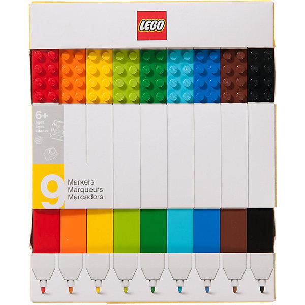 Набор цветных маркеров, 9 шт., LEGOLEGO Товары для фанатов<br>Набор маркеров из уникальной коллекции канцелярских принадлежностей LEGO состоит из 9-ти маркеров (цвета: красный, оранжевый, желтый, салатовый, зеленый, голубой, синий, коричневый, чёрный). Стержень маркера имеет закругленную форму, делая его безопасным для детей. Легко смываются с одежды и рук, изготовлены из экологически чистых материалов.<br>Ширина мм: 184; Глубина мм: 147; Высота мм: 22; Вес г: 149; Возраст от месяцев: 60; Возраст до месяцев: 144; Пол: Унисекс; Возраст: Детский; SKU: 5087582;