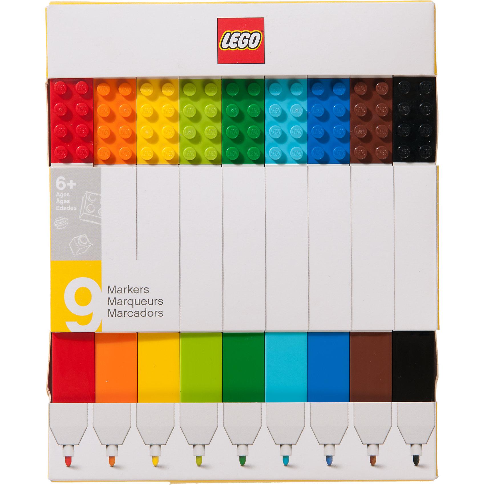 Набор цветных маркеров, 9 шт., LEGOПисьменные принадлежности<br>Набор маркеров из уникальной коллекции канцелярских принадлежностей LEGO состоит из 9-ти маркеров (цвета: красный, оранжевый, желтый, салатовый, зеленый, голубой, синий, коричневый, чёрный). Стержень маркера имеет закругленную форму, делая его безопасным для детей. Легко смываются с одежды и рук, изготовлены из экологически чистых материалов.<br><br>Ширина мм: 184<br>Глубина мм: 147<br>Высота мм: 22<br>Вес г: 149<br>Возраст от месяцев: 60<br>Возраст до месяцев: 144<br>Пол: Унисекс<br>Возраст: Детский<br>SKU: 5087582