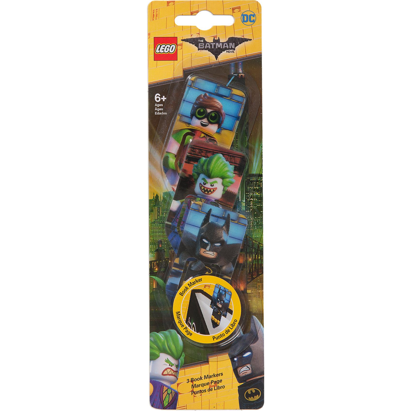 Набор закладок для книг, 3 шт., LEGOLEGO Товары для фанатов<br>Набор закладок для книг (3 шт.) с лентикулярным изображением в формате 3D LEGO Batman Movie (Лего Фильм: Бэтмен)-Batman/ The Joker /Robin<br><br>Ширина мм: 248<br>Глубина мм: 70<br>Высота мм: 5<br>Вес г: 22<br>Возраст от месяцев: 72<br>Возраст до месяцев: 144<br>Пол: Мужской<br>Возраст: Детский<br>SKU: 5087610