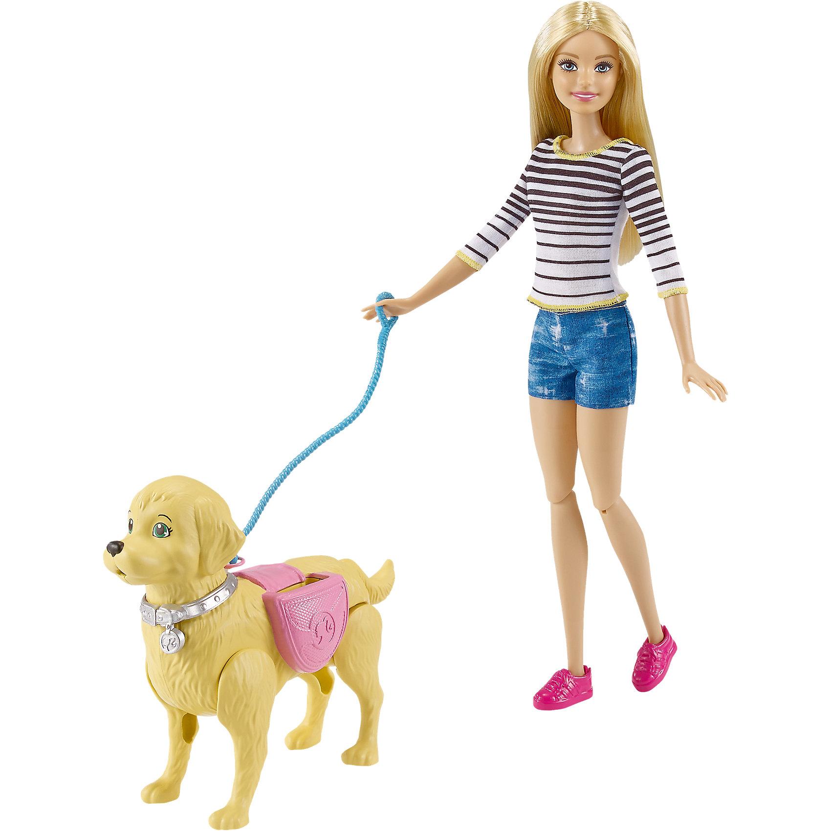 Игровой набор Прогулка с питомцем, BarbieBarbie<br>Игровой набор Прогулка с питомцем, Barbie (Барби)<br><br>Характеристики:<br><br>• реалистичная прогулка с питомцем<br>• в комплекте: кукла, собака, аксессуары<br>• материал: пластик<br>• размер упаковки: 32х23х7 см<br>• вес: 360 грамм<br><br>Барби очень любит своего домашнего питомца, собаку, и не забывает заботиться о нем. Для прогулки она надела модный полосатый топ, удобные ботиночки и джинсовые шорты. Если собака захочет в туалет, достаточно нажать ей на хвостик. И не забудьте убрать за ней с помощью специального совочка и щетки! После прогулки послушного питомца можно наградить вкусной косточкой и налить воды в миску. Большое количество аксессуаров придаст игре еще больше реалистичности и девочка сможет научиться ухаживать за домашними животными.<br><br>Игровой набор Прогулка с питомцем, Barbie (Барби) вы можете купить в нашем интернет-магазине.<br><br>Ширина мм: 327<br>Глубина мм: 228<br>Высота мм: 61<br>Вес г: 358<br>Возраст от месяцев: 36<br>Возраст до месяцев: 72<br>Пол: Женский<br>Возраст: Детский<br>SKU: 5089088