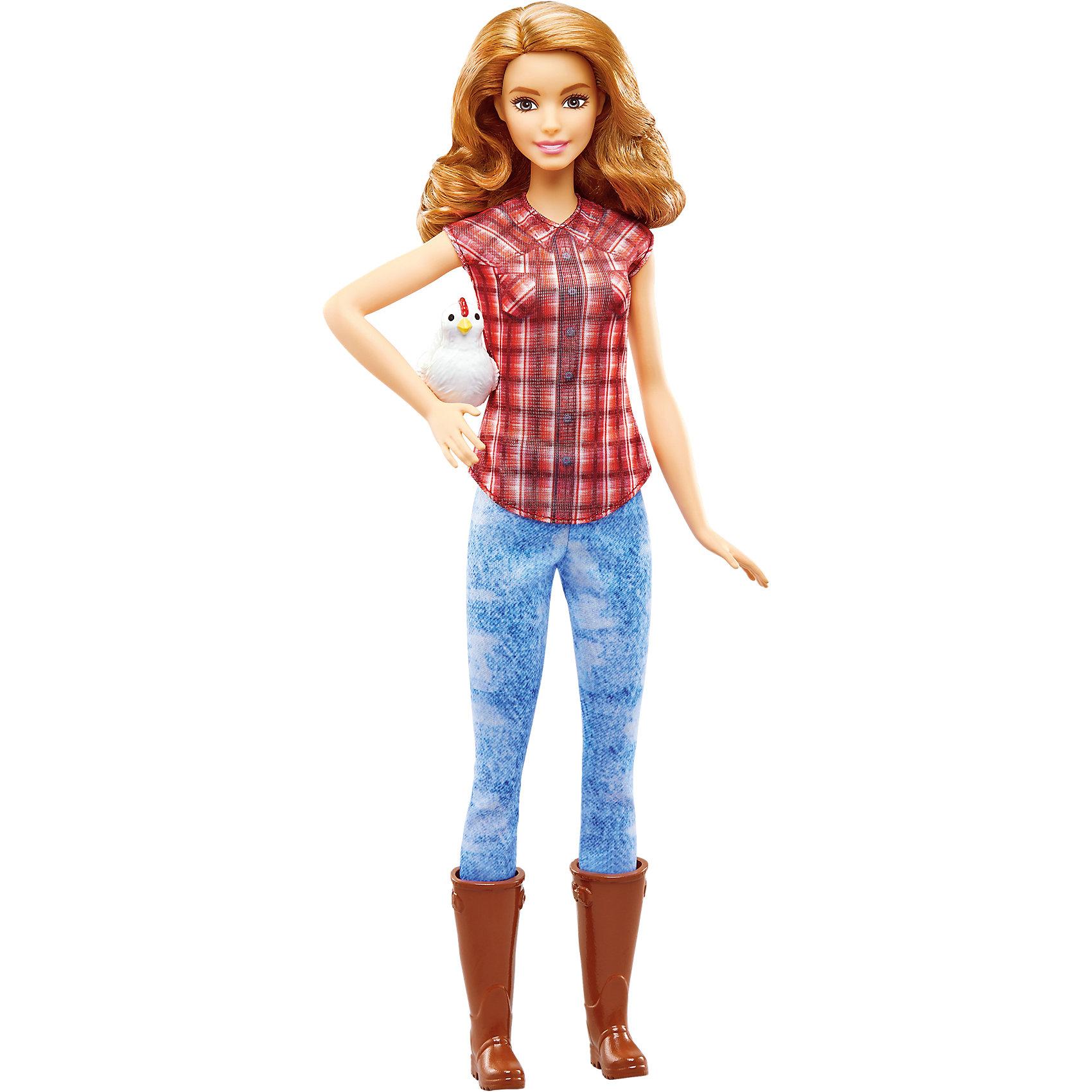 Кукла из серии «Кем быть?», Фермер, BarbieКуклы-модели<br>Характеристики товара:<br><br>• возраст от 3 лет;<br>• материал: пластик, текстиль;<br>• высота куклы 29 см;<br>• размер упаковки 32,5х11,5х5,5 см;<br>• вес упаковки 300 гр.;<br>• страна производитель: Китай.<br><br>Кукла Фермер «Кем быть?» Barbie относится к серии кукол, которые представляют разнообразные профессии. Кукла занимается хозяйством на ферме, она одета в клетчатый топ, джинсы и высокие сапоги. С ней девочка может не только придумывать сценки и истории для игры, но и подумать, кем бы она хотела быть стать, когда вырастет.<br><br>Куклу Фермер «Кем быть?» Barbie можно приобрести в нашем интернет-магазине.<br><br>Ширина мм: 331<br>Глубина мм: 119<br>Высота мм: 40<br>Вес г: 200<br>Возраст от месяцев: 36<br>Возраст до месяцев: 72<br>Пол: Женский<br>Возраст: Детский<br>SKU: 5089090