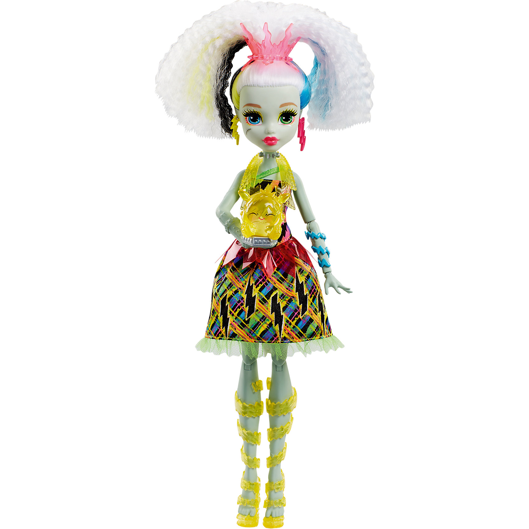 Электро Фрэнки из серии Под напряжением, Monster HighЭлектро Фрэнки из серии Под напряжением, Monster High (Монстер Хай)<br><br>Характеристики:<br><br>• любимый питомец поможет Фрэнки светиться от счастья<br>• волосы куклы светятся разными цветами<br>• кукла умеет смеяться и устраивать световое шоу<br>• материал: пластик, текстиль<br>• высота куклы: 30 см<br>• батарейки: LR44 - 3 шт. (входят в комплект)<br>• размер упаковки: 33х21х9 см<br>• вес: 280 грамм<br><br>Красавица Фрэнки из серии Под напряжением понравится всем любителям Школы Монстров. После общения со своим питомцем Фрэнки забавно хохочет, а ее волосы начинают мигать разными цветами. Цветные волосы, световое шоу никого не оставят равнодушным! Фрэнки одета в платье с ярким принтом и модные сапожки. Серьги в виде молний и голубые браслеты подчеркивают неповторимость образа красавицы. Интерактивная Фрэнки подарит вам много положительных эмоций!<br><br>Электро Фрэнки из серии Под напряжением, Monster High (Монстер Хай) можно купить в нашем интернет-магазине.<br><br>Ширина мм: 328<br>Глубина мм: 207<br>Высота мм: 81<br>Вес г: 277<br>Возраст от месяцев: 72<br>Возраст до месяцев: 120<br>Пол: Женский<br>Возраст: Детский<br>SKU: 5089104