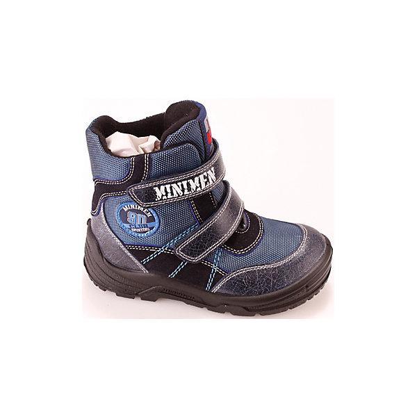 Ботинки для мальчика MinimenОбувь для малышей<br>Полусапоги для мальчика Minimen<br><br>Характеристики:<br><br>• цвет: синий<br>• Температурный режим: от 0° С до -15° С.<br>• внешний материал: натуральная кожа, текстиль<br>• внутренний материал: натуральная шерсть<br>• стелька: натуральная шерсть<br>• подошва: полиуретан<br>• высокий задник<br>• две застежки липучки<br><br>Полусапоги для мальчика от популярного бренда детской обуви Minimen (Минимэн) отлично подойдут на зимний сезон. Качественная натуральная кожа и стильный дизайн придут по вкусу и ребенку и родителям. Практичный темно-синий цвет подойдет к любой зимней одежде. Прочный высокий задник надежно зафиксирует ножку не давая ей заваливаться и позволяя правильно развиваться, широкий нос полусапог не сдавливает пальчики и оставляет достаточно места. Удобные, теплые и легкие полусапоги легко снимать и надевать благодаря застежкам-липучкам. Полиуретановая подошва не пропускает холод и поможет сохранить ножки в тепле.<br><br>Полусапоги для мальчика Minimen (Минимэн) можно купить в нашем интернет-магазине.<br>Ширина мм: 257; Глубина мм: 180; Высота мм: 130; Вес г: 420; Цвет: синий; Возраст от месяцев: 24; Возраст до месяцев: 24; Пол: Мужской; Возраст: Детский; Размер: 25,21,24,23,22; SKU: 5089331;