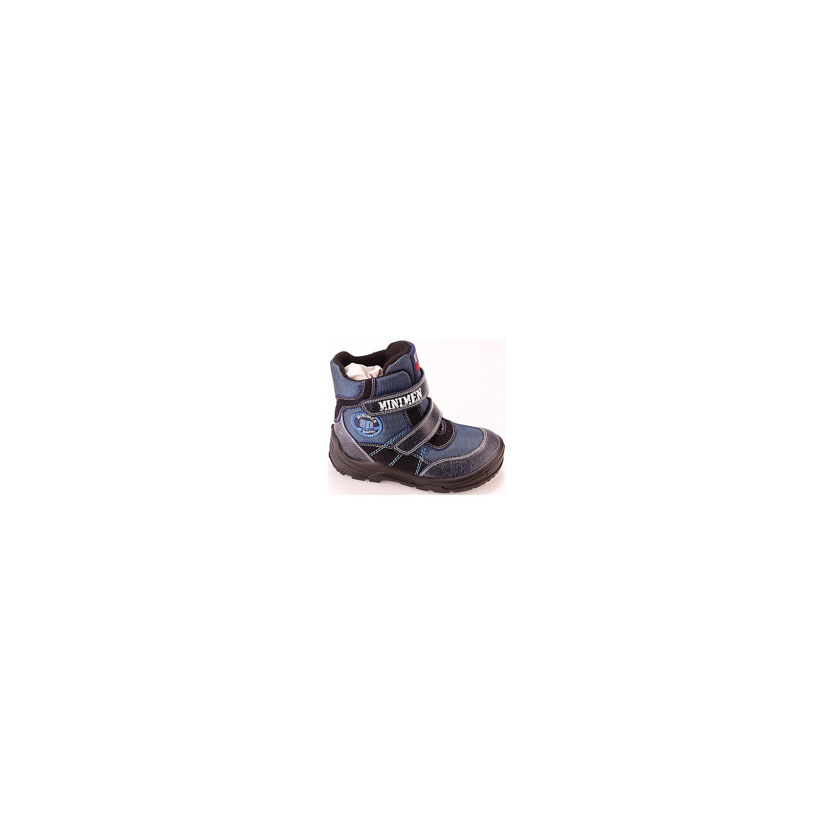 Ботинки для мальчика MinimenОбувь для малышей<br>Полусапоги для мальчика Minimen<br><br>Характеристики:<br><br>• цвет: синий<br>• Температурный режим: от 0° С до -15° С.<br>• внешний материал: натуральная кожа, текстиль<br>• внутренний материал: натуральная шерсть<br>• стелька: натуральная шерсть<br>• подошва: полиуретан<br>• высокий задник<br>• две застежки липучки<br><br>Полусапоги для мальчика от популярного бренда детской обуви Minimen (Минимэн) отлично подойдут на зимний сезон. Качественная натуральная кожа и стильный дизайн придут по вкусу и ребенку и родителям. Практичный темно-синий цвет подойдет к любой зимней одежде. Прочный высокий задник надежно зафиксирует ножку не давая ей заваливаться и позволяя правильно развиваться, широкий нос полусапог не сдавливает пальчики и оставляет достаточно места. Удобные, теплые и легкие полусапоги легко снимать и надевать благодаря застежкам-липучкам. Полиуретановая подошва не пропускает холод и поможет сохранить ножки в тепле.<br><br>Полусапоги для мальчика Minimen (Минимэн) можно купить в нашем интернет-магазине.<br><br>Ширина мм: 257<br>Глубина мм: 180<br>Высота мм: 130<br>Вес г: 420<br>Цвет: синий<br>Возраст от месяцев: 18<br>Возраст до месяцев: 21<br>Пол: Мужской<br>Возраст: Детский<br>Размер: 23,25,21,22,24<br>SKU: 5089331