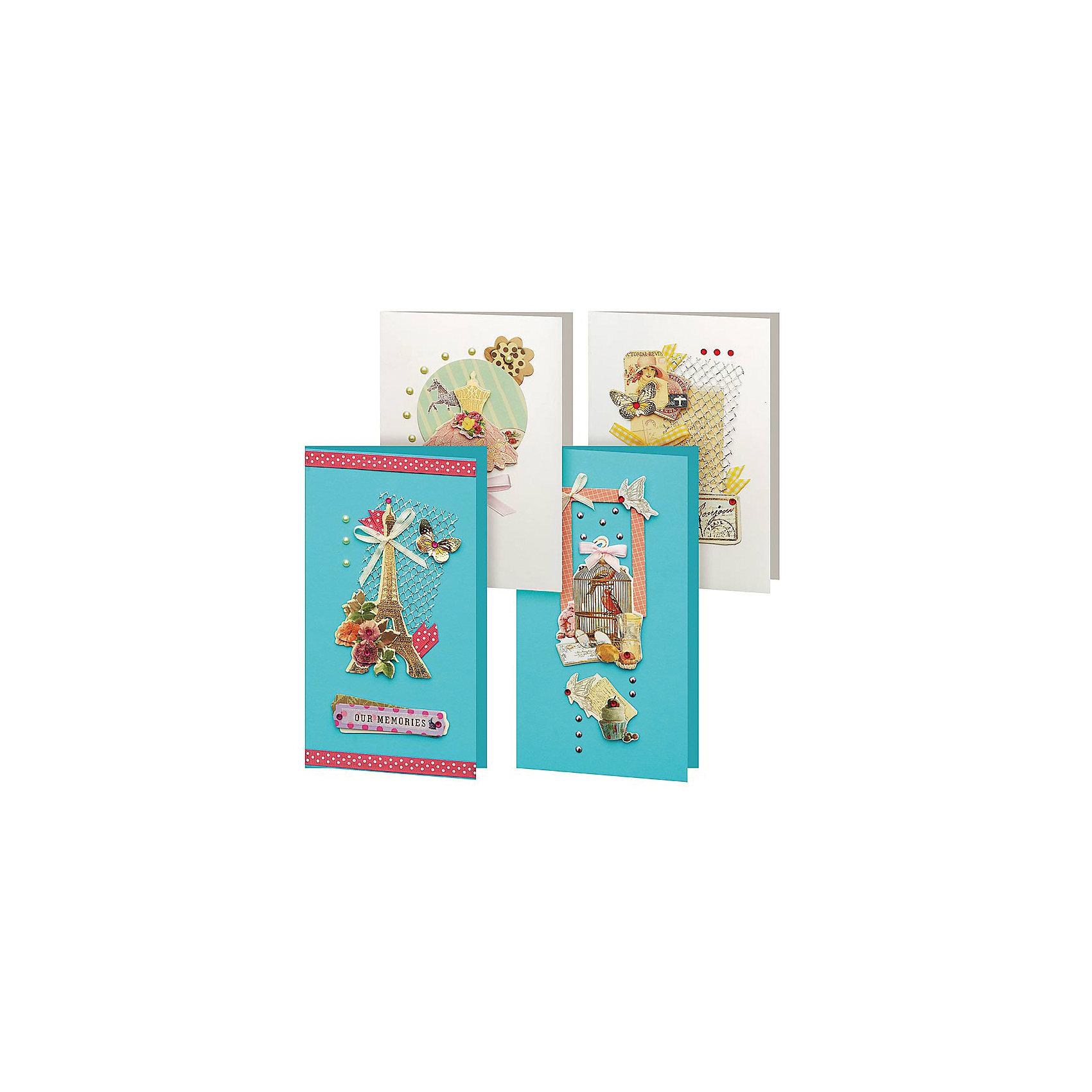 Скрапбукинг-набор для создания 4-х открыток ГрацияСкрапбукинг-набор для создания 4-х открыток Грация, Белоснежка.<br><br>Характеристики:<br><br>• содержит всё необходимое для создания открытки. <br>• в комплекте: 4 основы для открытки, 4 конверта, картон, клеевые подушечки, ленты, вырубка из бумаги, пайетки, стразы<br>• размер: 11,5х17 см<br><br>Набор Грация поможет вам создать красивейшие открытки своими руками. В наборе вы найдете всё самое необходимое: основы для открыток, конверт и декоративные элементы. Создайте прекрасный подарок своими руками!<br><br>Скрапбукинг-набор для создания 4-х открыток Грация вы можете купить в нашем интернет-магазине.<br><br>Ширина мм: 270<br>Глубина мм: 150<br>Высота мм: 60<br>Вес г: 194<br>Возраст от месяцев: 72<br>Возраст до месяцев: 144<br>Пол: Женский<br>Возраст: Детский<br>SKU: 5089620
