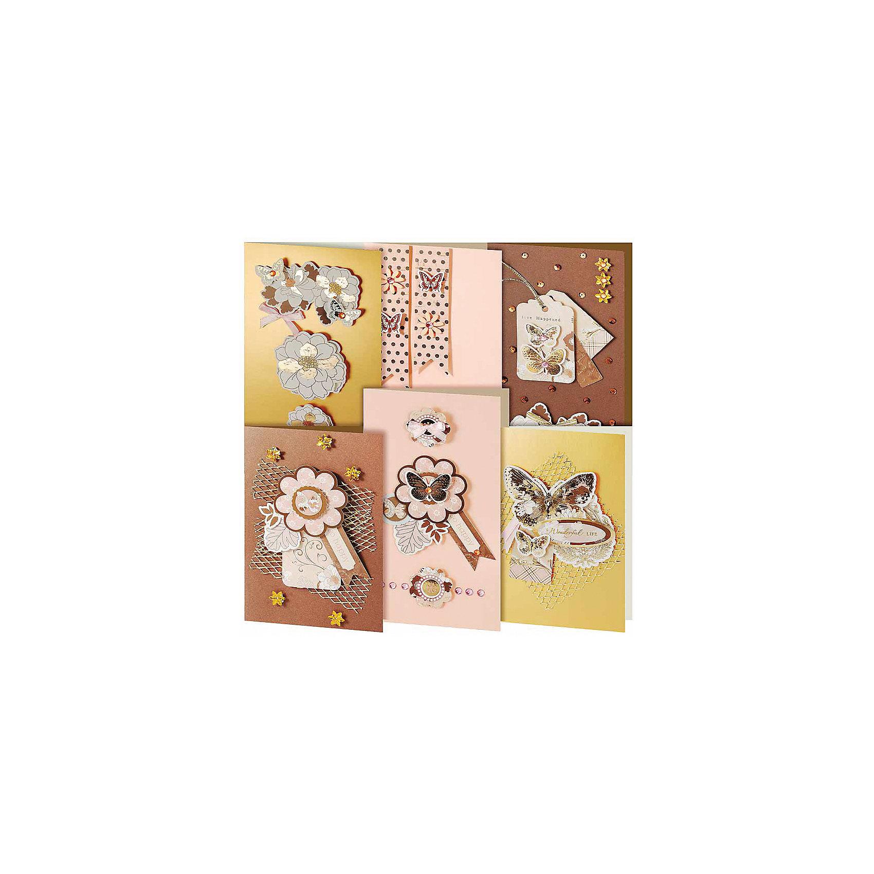 Скрапбукинг-набор для создания 6-ти открыток БабочкиРукоделие<br>Скрапбукинг-набор для создания 6-ти открыток Бабочки, Белоснежка.<br><br>Характеристики:<br><br>• содержит всё необходимое для создания открытки. <br>• в комплекте: 6 основ для открытки, 6 конвертов, картон, клеевые подушечки, ленты, вырубка из бумаги, пайетки, стразы<br>• размер: 11,5х17 см<br><br>Набор Бабочки отлично подойдет любителям скрапбукинга. С его помощью вы сможете создать 6 различных открыток, декорированных объемными элементами. Для вашего удобства в набор включена пошаговая инструкция, которая поможет вам разобраться со всеми тонкостями скрапбукинга. В наборе Вы найдете всё необходимое для творчества.<br><br>Скрапбукинг-набор для создания 6-ти открыток Бабочки можно купить в нашем интернет-магазине.<br><br>Ширина мм: 270<br>Глубина мм: 150<br>Высота мм: 60<br>Вес г: 280<br>Возраст от месяцев: 72<br>Возраст до месяцев: 144<br>Пол: Женский<br>Возраст: Детский<br>SKU: 5089622