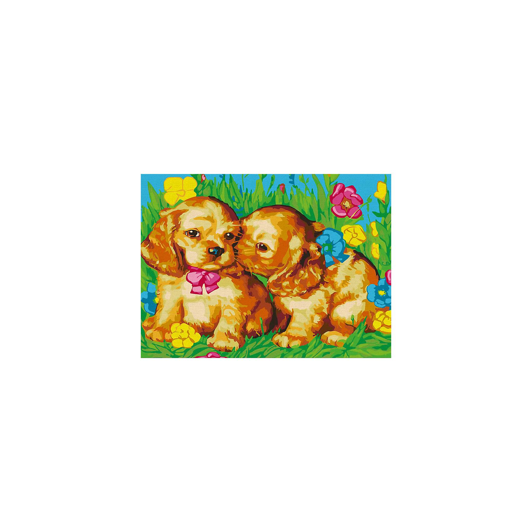 Живопись на холсте 30*40 см Щенки на полянеРаскраски по номерам<br>Характеристики:<br><br>• Предназначение: для занятий художественным творчеством<br>• Тематика: животные<br>• Пол: универсальный<br>• Материал: дерево, бумага, краски<br>• Цвет: голубой, желтый, оранжевый, коричневый, зеленый, розовый<br>• Комплектация: холст на подрамнике, набор акриловых красок, 2 кисти, пробный лист с нанесенным рисунком, крепление для готовой картины, инструкция<br>• Размеры (Ш*Д): 30*40 см<br>• Вес: 480 г <br>• Упаковка: картонная коробка<br><br>Живопись на холсте 30*40 см Щенки на поляне – это набор от торговой марки Белоснежка, специализирующейся на товарах для творчества и рукоделия. Комплект для живописи состоит из черно-белого холста на подрамнике из дерева, набора необходимых акриловых красок, двух кистей разного размера и пробного листа. На холст и пробный лист нанесен рисунок с указанием номера соответствующей цвету краски. Акриловые краски хорошо ложатся на холст, не растекаются и не смешиваются, что делает их идеальными для начинающих художников. Все материалы, используемые в наборе, экологичные и натуральные. Готовые наборы научат вашего ребенка сочетать цвета и оттенки, действовать по заданному образцу, будут способствовать развитию внимательности, усидчивости и зрительному восприятию. <br>Занятия художественным творчеством являются не только средством творческого и эстетического развития, но также воспитания и коррекции эмоциональных комплексов у детей. <br><br>С наборами живописи на холсте от Белоснежки можно создать свою галерею картин или подготовить подарок родным и близким к празднованию торжества.<br><br>Живопись на холсте 30*40 см Щенки на поляне можно купить в нашем интернет-магазине.<br><br>Ширина мм: 410<br>Глубина мм: 310<br>Высота мм: 25<br>Вес г: 567<br>Возраст от месяцев: 72<br>Возраст до месяцев: 144<br>Пол: Унисекс<br>Возраст: Детский<br>SKU: 5089631