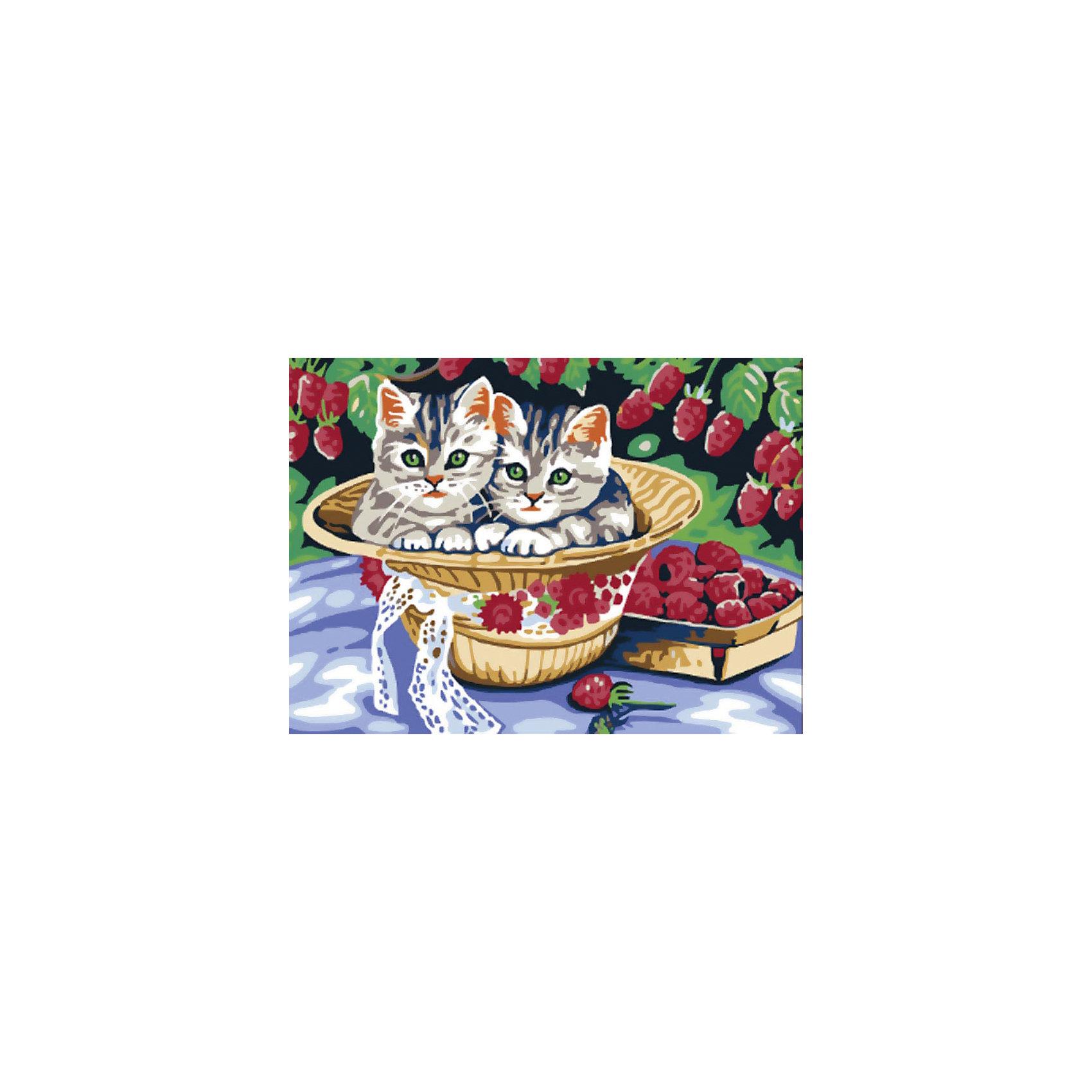 Белоснежка Живопись на холсте 30*40 см Котята в саду