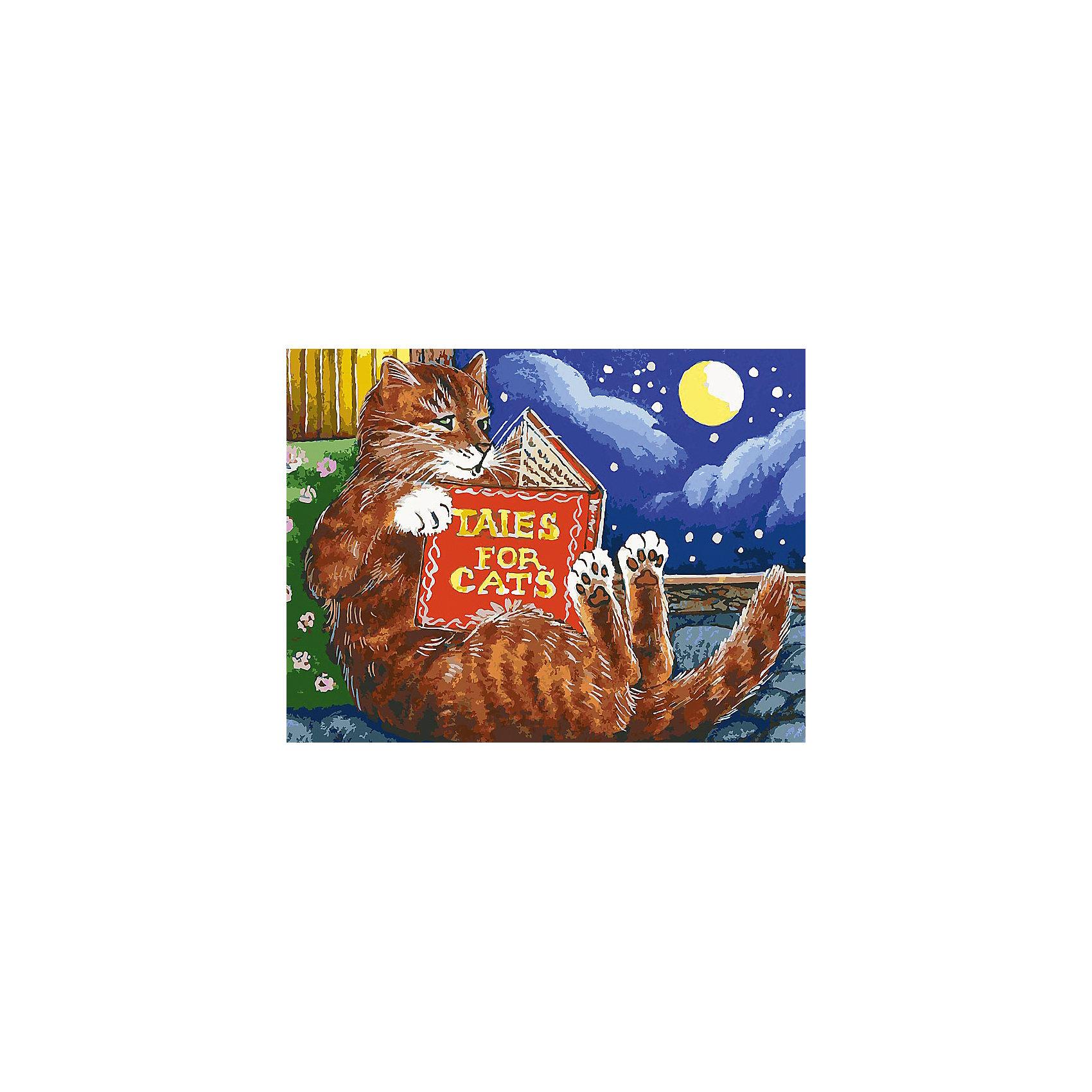 Живопись на холсте 30*40 см Сказки для котовХарактеристики:<br><br>• Предназначение: для занятий художественным творчеством<br>• Тематика: животные<br>• Пол: универсальный<br>• Материал: дерево, бумага, краски<br>• Цвет: коричневый, оранжевый, синий, желтый, зеленый, белый и др.<br>• Комплектация: холст на подрамнике, набор акриловых красок, 3 кисти, пробный лист с нанесенным рисунком, крепление для готовой картины, инструкция<br>• Размеры (Ш*Д): 30*40 см<br>• Вес: 580 г <br>• Упаковка: картонная коробка<br><br>Живопись на холсте 30*40 см Сказки для котов – это набор от торговой марки Белоснежка, специализирующейся на товарах для творчества и рукоделия. Комплект для живописи состоит из черно-белого холста на подрамнике из дерева, набора необходимых акриловых красок, трех кистей разного размера и пробного листа. На холст и пробный лист нанесен рисунок с указанием номера соответствующей цвету краски. Акриловые краски хорошо ложатся на холст, не растекаются и не смешиваются, что делает их идеальными для начинающих художников. Все материалы, используемые в наборе, экологичные и натуральные. Готовые наборы научат вашего ребенка сочетать цвета и оттенки, действовать по заданному образцу, будут способствовать развитию внимательности, усидчивости и зрительному восприятию. <br>Занятия художественным творчеством являются не только средством творческого и эстетического развития, но также воспитания и коррекции эмоциональных комплексов у детей. <br><br>С наборами живописи на холсте от Белоснежки можно создать свою галерею картин или подготовить подарок родным и близким к празднованию торжества.<br><br>Живопись на холсте 30*40 см Сказки для котов можно купить в нашем интернет-магазине.<br><br>Ширина мм: 410<br>Глубина мм: 310<br>Высота мм: 25<br>Вес г: 567<br>Возраст от месяцев: 72<br>Возраст до месяцев: 144<br>Пол: Унисекс<br>Возраст: Детский<br>SKU: 5089672