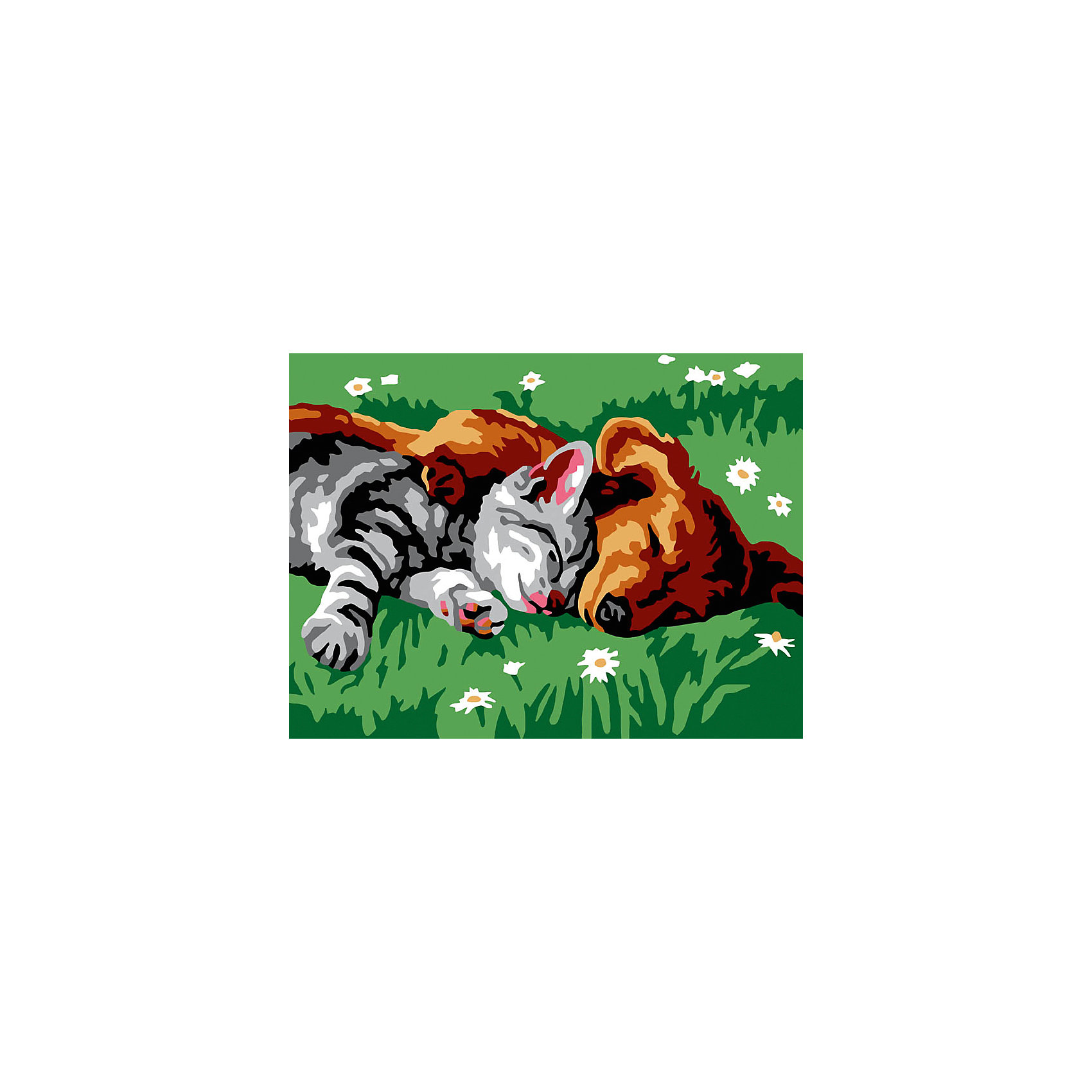 Живопись на холсте 30*40 см Котенок и щенокХарактеристики:<br><br>• Предназначение: для занятий художественным творчеством<br>• Тематика: животные<br>• Пол: универсальный<br>• Материал: дерево, бумага, краски<br>• Цвет: коричневый, оранжевый, белый, серый, черный, зеленый и др.<br>• Комплектация: холст на подрамнике, набор акриловых красок, 2 кисти, пробный лист с нанесенным рисунком, крепление для готовой картины, инструкция<br>• Размеры (Ш*Д): 30*40 см<br>• Вес: 480 г <br>• Упаковка: картонная коробка<br><br>Живопись на холсте 30*40 см Котенок и щенок – это набор от торговой марки Белоснежка, специализирующейся на товарах для творчества и рукоделия. Комплект для живописи состоит из черно-белого холста на подрамнике из дерева, набора необходимых акриловых красок, двух кистей разного размера и пробного листа. На холст и пробный лист нанесен рисунок с указанием номера соответствующей цвету краски. Акриловые краски хорошо ложатся на холст, не растекаются и не смешиваются, что делает их идеальными для начинающих художников. Все материалы, используемые в наборе, экологичные и натуральные. Готовые наборы научат вашего ребенка сочетать цвета и оттенки, действовать по заданному образцу, будут способствовать развитию внимательности, усидчивости и зрительному восприятию. <br>Занятия художественным творчеством являются не только средством творческого и эстетического развития, но также воспитания и коррекции эмоциональных комплексов у детей. <br><br>С наборами живописи на холсте от Белоснежки можно создать свою галерею картин или подготовить подарок родным и близким к празднованию торжества.<br><br>Живопись на холсте 30*40 см Котенок и щенок можно купить в нашем интернет-магазине.<br><br>Ширина мм: 410<br>Глубина мм: 310<br>Высота мм: 25<br>Вес г: 567<br>Возраст от месяцев: 72<br>Возраст до месяцев: 144<br>Пол: Унисекс<br>Возраст: Детский<br>SKU: 5089679