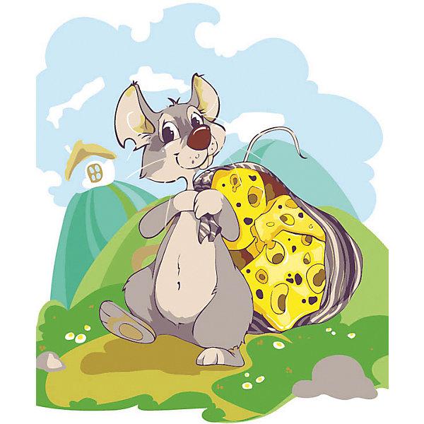 Живопись на холсте 30*40 см Мышка с сыромРаскраски по номерам<br>Характеристики:<br><br>• Предназначение: для занятий художественным творчеством<br>• Тематика: животные<br>• Пол: универсальный<br>• Материал: дерево, бумага, краски<br>• Цвет: серый, белый, зеленый, голубой, желтый и др.<br>• Комплектация: холст на подрамнике, набор акриловых красок, 3 кисти, пробный лист с нанесенным рисунком, крепление для готовой картины, инструкция<br>• Размеры (Ш*Д): 30*40 см<br>• Вес: 480 г <br>• Упаковка: картонная коробка<br><br>Живопись на холсте 30*40 см Мышка с сыром – это набор от торговой марки Белоснежка, специализирующейся на товарах для творчества и рукоделия. Комплект для живописи состоит из черно-белого холста на подрамнике из дерева, набора необходимых акриловых красок, трех кистей разного размера и пробного листа. На холст и пробный лист нанесен рисунок с указанием номера соответствующей цвету краски. Акриловые краски хорошо ложатся на холст, не растекаются и не смешиваются, что делает их идеальными для начинающих художников. Все материалы, используемые в наборе, экологичные и натуральные. Готовые наборы научат вашего ребенка сочетать цвета и оттенки, действовать по заданному образцу, будут способствовать развитию внимательности, усидчивости и зрительному восприятию. <br>Занятия художественным творчеством являются не только средством творческого и эстетического развития, но также воспитания и коррекции эмоциональных комплексов у детей. <br><br>С наборами живописи на холсте от Белоснежки можно создать свою галерею картин или подготовить подарок родным и близким к празднованию торжества.<br><br>Живопись на холсте 30*40 см Мышка с сыром можно купить в нашем интернет-магазине.<br><br>Ширина мм: 410<br>Глубина мм: 310<br>Высота мм: 25<br>Вес г: 567<br>Возраст от месяцев: 72<br>Возраст до месяцев: 144<br>Пол: Унисекс<br>Возраст: Детский<br>SKU: 5089688