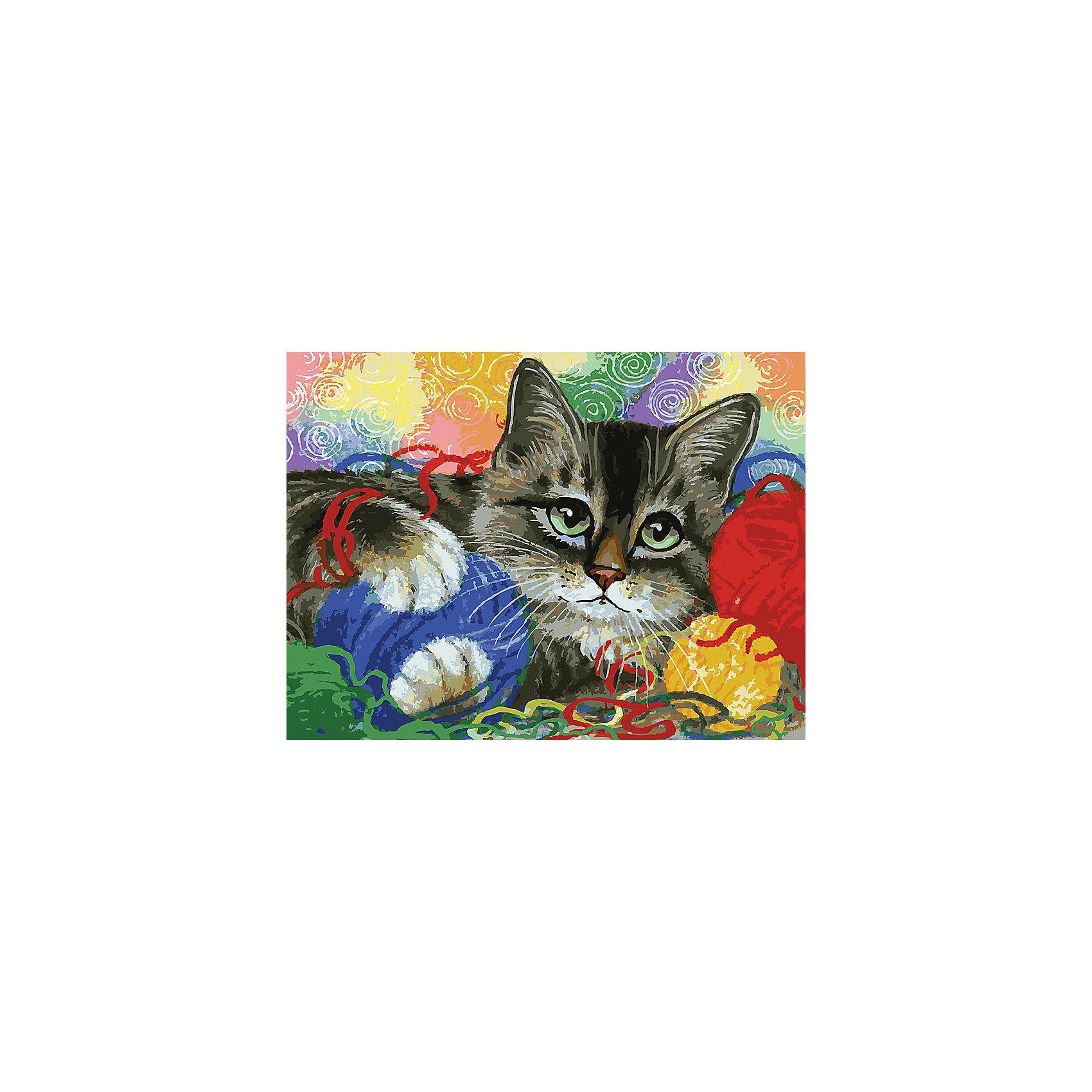 Живопись на холсте 30*40 см Котик с клубочкамиХарактеристики товара:<br><br>• цвет: разноцветный<br>• материал: акрил, картон<br>• размер: 30 x 40 см<br>• комплектация: полотно на подрамнике с контурами рисунка, пробный лист с рисунком, набор акриловых красок, три кисти, крепление на стену для картины<br>• для детей от шести лет и взрослых<br>• не требует специальных навыков<br>• страна бренда: Китай<br>• страна изготовитель: Китай<br><br>Как с удовольствием и пользой провести время? Порисовать! Это занятие, которое любят многие дети и взрослые. Рисование помогает развить важные навыки и просто приносит удовольствие! Чтобы вселить в ребенка уверенность в своих силах, можно предложить ему этот набор - в нем уже есть сюжет, контуры рисунка и участки с номерами, которые обозначают определенную краску из набора. Все оттенки уже готовы, задача художника - аккуратно, с помощью кисточек из набора, нанести краски на определенный участок полотна.<br>Взрослым также понравится этот процесс, рисовать можно и вместе с малышом! В итоге получается красивая картина, которой можно украсить интерьер. Рисование способствует развитию мелкой моторики, воображения, цветовосприятия, творческих способностей и усидчивости. Набор отлично проработан, сделан из качественных и проверенных материалов, которые безопасны для детей. Краски - акриловые, они быстро сохнут и легко смываются с кожи.<br><br>Живопись на холсте 30*40 см Котик с клубочками от торговой марки Белоснежка можно купить в нашем интернет-магазине.<br><br>Ширина мм: 410<br>Глубина мм: 310<br>Высота мм: 25<br>Вес г: 567<br>Возраст от месяцев: 72<br>Возраст до месяцев: 144<br>Пол: Унисекс<br>Возраст: Детский<br>SKU: 5089713