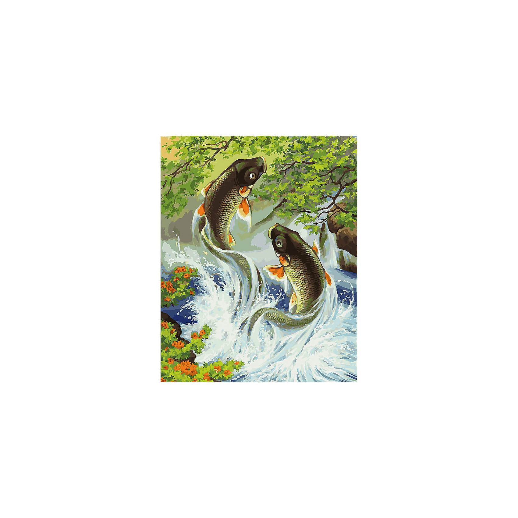 Белоснежка Живопись на холсте 40*50 см Прыгающие карпы