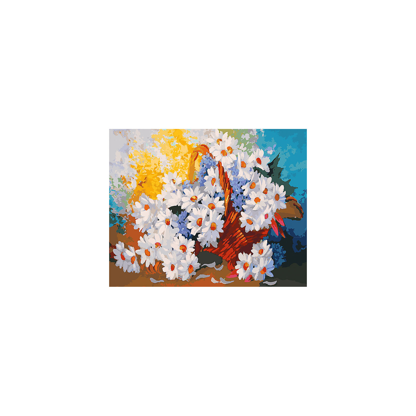 Белоснежка Живопись на холсте 40*50 см Корзинка с ромашками