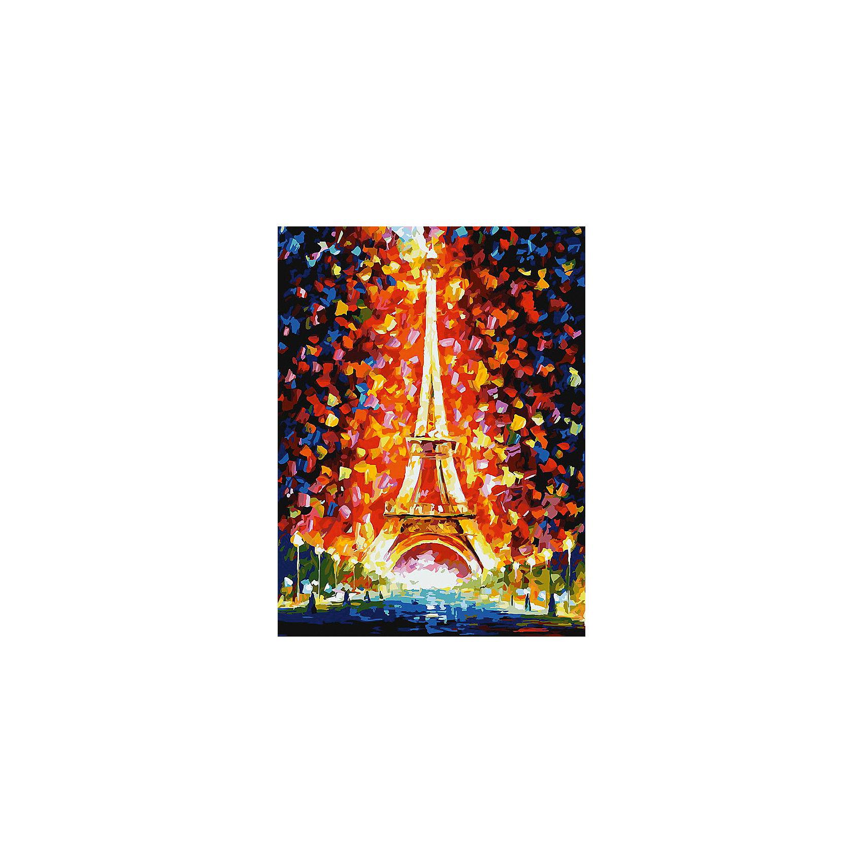 Белоснежка Живопись на картоне Париж - огни Эйфелевой башни 30*40 см