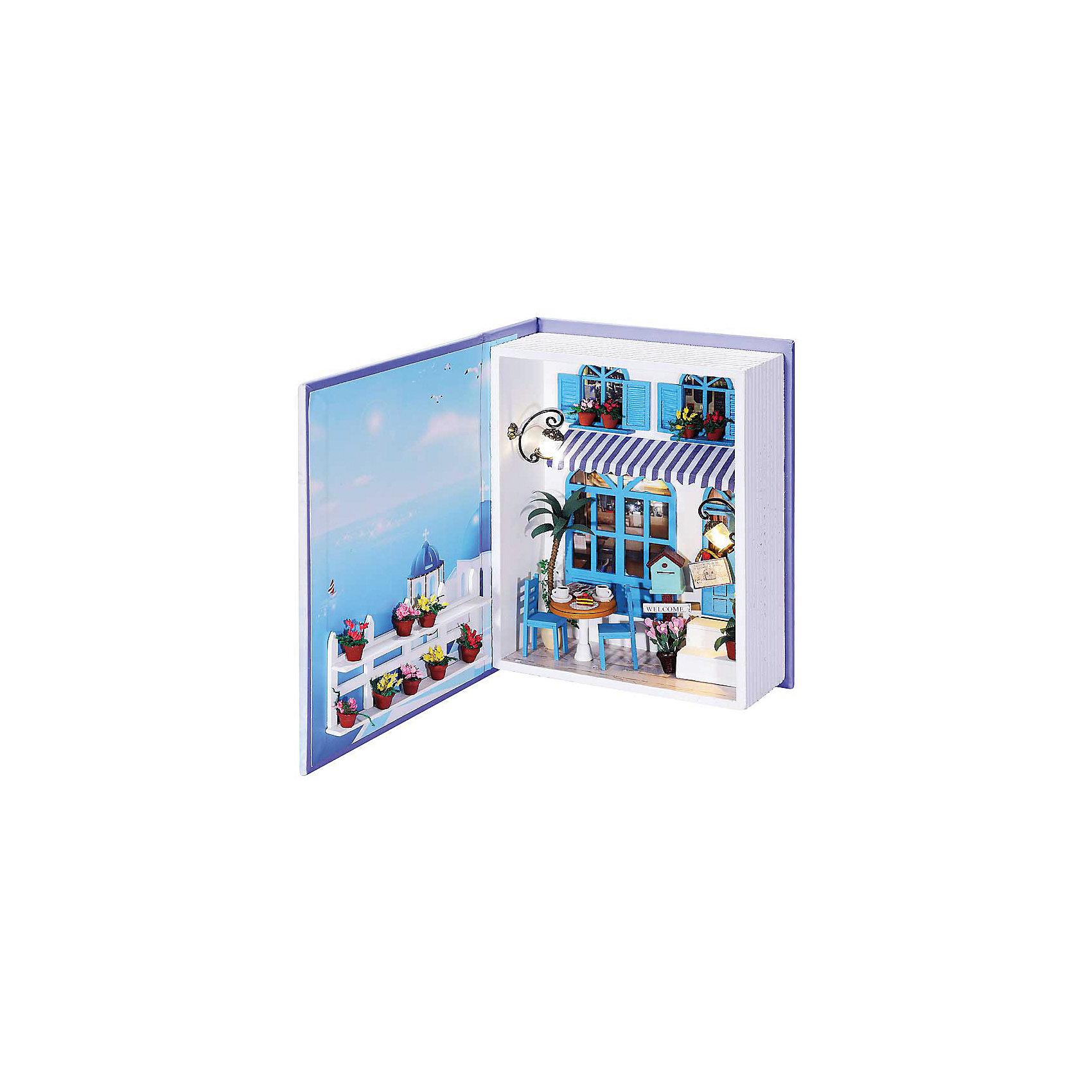 Набор для создания миниатюры Кафе в СанториниРукоделие<br>Набор для создания миниатюры Кафе в Санторини, Белоснежка.<br><br>Характеристики:<br><br>• содержит всё необходимое для создания миниатюры <br>• оригинальный дизайн: книжка-коробочка<br>• в комплекте: основа для миниатюры, клей, ножницы, пинцет, детали интерьера, диодное освещение, пошаговая инструкция. <br>• размер: 15х6х20 см<br><br>Скрапбукинг - интересное и увлекательное занятие. Вы можете создавать красивые детали для украшения интерьера своими руками. Набор Кафе в Санторини содержит всё необходимое для творчества: элементы декора, мебель и даже фонарик никого не оставят равнодушными. Удобные инструменты и пошаговая инструкция помогут не ошибиться в процессе творчества. Все детали разложены в отдельные пакеты. Готовую книгу можно хранить как в открытом, так и в закрытом виде. Готовую миниатюру можно преподнести в подарок или украсить ею свой комнату.<br><br>Набор для создания миниатюры Кафе в Санторини вы можете купить в нашем интернет-магазине.<br><br>Ширина мм: 200<br>Глубина мм: 150<br>Высота мм: 60<br>Вес г: 623<br>Возраст от месяцев: 72<br>Возраст до месяцев: 144<br>Пол: Женский<br>Возраст: Детский<br>SKU: 5089785