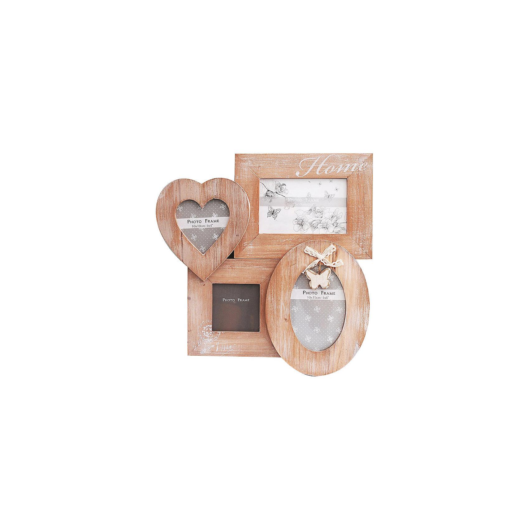 Фоторамка комбинированнаяПредметы интерьера<br>Характеристики:<br><br>• Предназначение: для оформления фотографий, вышивок, картин<br>• Пол: универсальный<br>• Материал: дерево, оргстекло<br>• Цвет: дерево<br>• Комплектация: рамки для 4-х фото разной формы: квадратная, прямоугольная, в форме сердца, овальная<br>• Размеры (Ш*Д*В): 35*35,7*2 см<br>• Вес в упаковке: 480 г <br>• Упаковка: картонная коробка<br><br>Фоторамка комбинированная – это деревянная фоторамка от торговой марки Белоснежка, специализирующейся на товарах для творчества и рукоделия. Изделие состоит из четырех фоторамок разной формы: квадратной, прямоугольной, овальной и в форме сердца. С такой фоторамкой можно создать семейную историю из любимых фотографий или использовать ее для оформления вышивок, картин. Она имеет подвесное крепление, поэтому с помощью этой фоторамки можно оформить интерьер. Комбинированная фоторамка выполнена в натуральном цвете дерева, поэтому она стилистически легко впишется в любой интерьер. <br><br>Фоторамку комбинированную можно купить в нашем интернет-магазине.<br><br>Ширина мм: 357<br>Глубина мм: 350<br>Высота мм: 20<br>Вес г: 5000<br>Возраст от месяцев: 72<br>Возраст до месяцев: 144<br>Пол: Унисекс<br>Возраст: Детский<br>SKU: 5089788