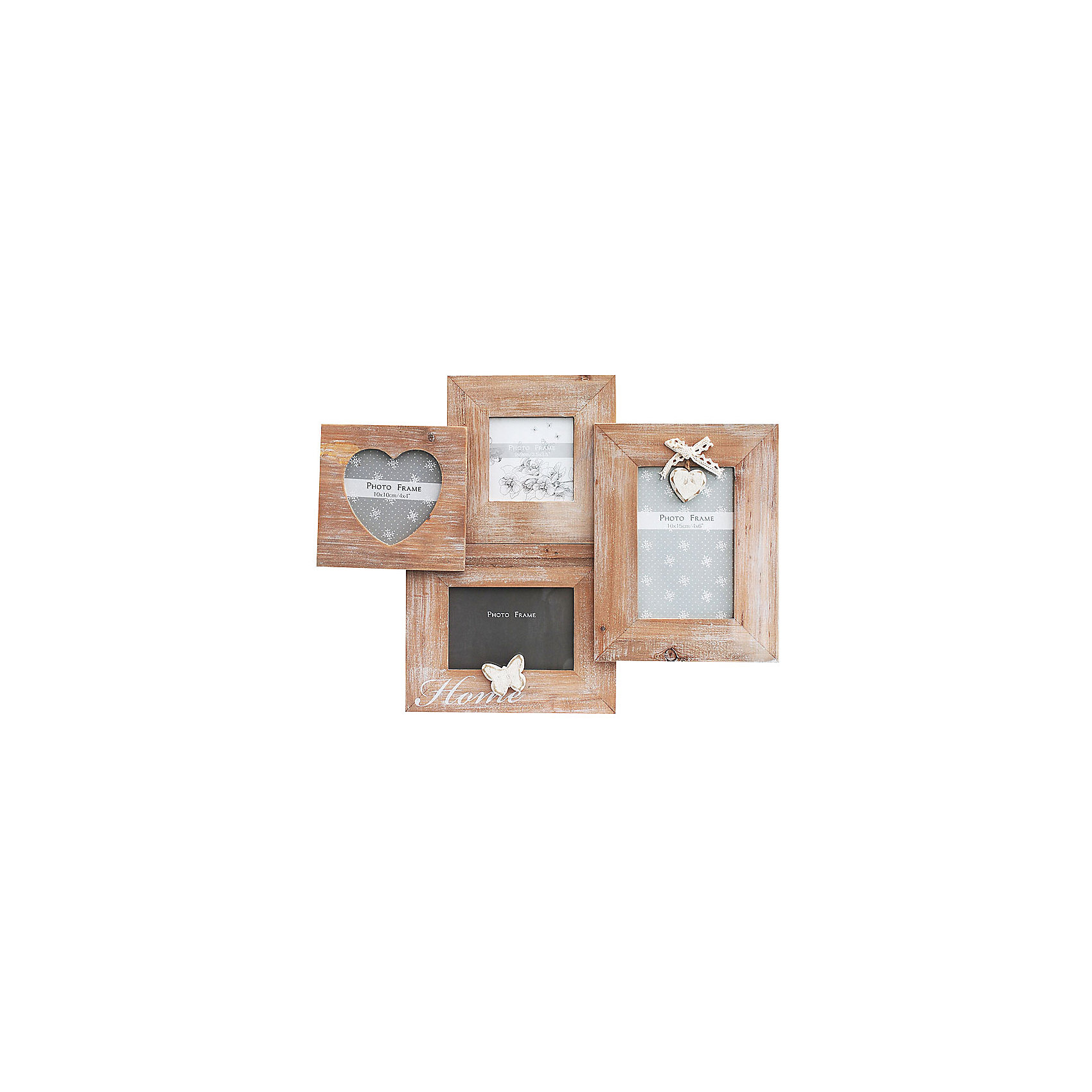 Фоторамка комбинированнаяПредметы интерьера<br>Характеристики:<br><br>• Предназначение: для оформления фотографий, вышивок, картин<br>• Пол: универсальный<br>• Материал: дерево, оргстекло<br>• Цвет: дерево<br>• Комплектация: рамки для 4-х фото разной формы: квадратная, 2 прямоугольные, в форме сердца<br>• Размеры (Ш*Д*В): 43*31,8*2,2 см<br>• Вес в упаковке: 480 г <br>• Упаковка: картонная коробка<br><br>Фоторамка комбинированная – это деревянная фоторамка от торговой марки Белоснежка, специализирующейся на товарах для творчества и рукоделия. Изделие состоит из четырех фоторамок разной формы: квадратной, 2-х прямоугольных и в форме сердца. С такой фоторамкой можно создать семейную историю из любимых фотографий или использовать ее для оформления вышивок, картин. Она имеет подвесное крепление, поэтому с помощью этой фоторамки можно оформить интерьер. Комбинированная фоторамка выполнена в натуральном цвете дерева с эффектом старения, поэтому она стилистически легко впишется в любой интерьер. <br><br>Фоторамку комбинированную можно купить в нашем интернет-магазине.<br><br>Ширина мм: 430<br>Глубина мм: 318<br>Высота мм: 22<br>Вес г: 5500<br>Возраст от месяцев: 72<br>Возраст до месяцев: 144<br>Пол: Унисекс<br>Возраст: Детский<br>SKU: 5089790