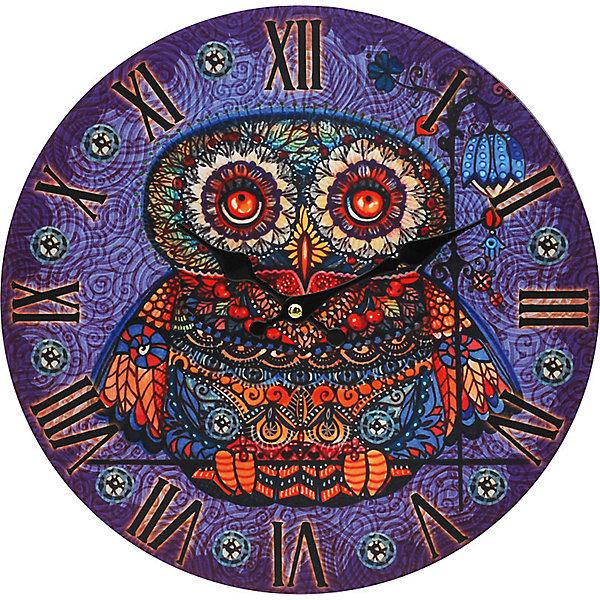 Часы настенные Волшебная сова, диаметр 34 смДетские предметы интерьера<br>Часы настенные Волшебная сова, диаметр 34 см.<br><br>Характеристики:<br><br>- Диаметр: 34 см.<br>- Две стрелки часовая и минутная<br>- Батарейка: 1 типа АА (в комплект не входит)<br>- Основной цвет: сиреневый<br>- Упаковка картонная коробка<br><br>Кварцевые настенные часы с механизмом плавного хода помимо своего прямого назначения – показывать точное время – станут важным элементом декора Вашего дома, квартиры или офиса. Открытый циферблат часов выполнен из листа оргалита с декоративным покрытием, оформлен изображением совы. Часовая и минутная стрелки металлические. Часовой механизм закрыт пластиковым корпусом. Часы будут ярким акцентом в интерьере и создадут дополнительный уют и хорошее настроение.<br><br>Часы настенные Волшебная сова, диаметр 34 см можно купить в нашем интернет-магазине.<br><br>Ширина мм: 345<br>Глубина мм: 340<br>Высота мм: 45<br>Вес г: 2500<br>Возраст от месяцев: 72<br>Возраст до месяцев: 144<br>Пол: Унисекс<br>Возраст: Детский<br>SKU: 5089815