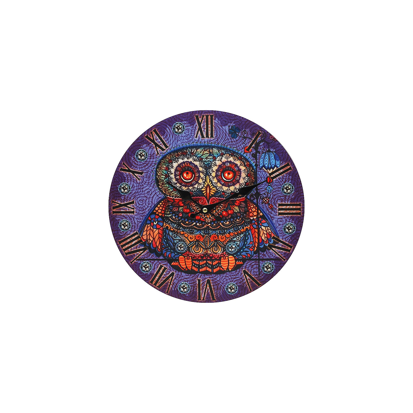 Часы настенные Волшебная сова, диаметр 34 смЧасы настенные Волшебная сова, диаметр 34 см.<br><br>Характеристики:<br><br>- Диаметр: 34 см.<br>- Две стрелки часовая и минутная<br>- Батарейка: 1 типа АА (в комплект не входит)<br>- Основной цвет: сиреневый<br>- Упаковка картонная коробка<br><br>Кварцевые настенные часы с механизмом плавного хода помимо своего прямого назначения – показывать точное время – станут важным элементом декора Вашего дома, квартиры или офиса. Открытый циферблат часов выполнен из листа оргалита с декоративным покрытием, оформлен изображением совы. Часовая и минутная стрелки металлические. Часовой механизм закрыт пластиковым корпусом. Часы будут ярким акцентом в интерьере и создадут дополнительный уют и хорошее настроение.<br><br>Часы настенные Волшебная сова, диаметр 34 см можно купить в нашем интернет-магазине.<br><br>Ширина мм: 345<br>Глубина мм: 340<br>Высота мм: 45<br>Вес г: 2500<br>Возраст от месяцев: 72<br>Возраст до месяцев: 144<br>Пол: Унисекс<br>Возраст: Детский<br>SKU: 5089815