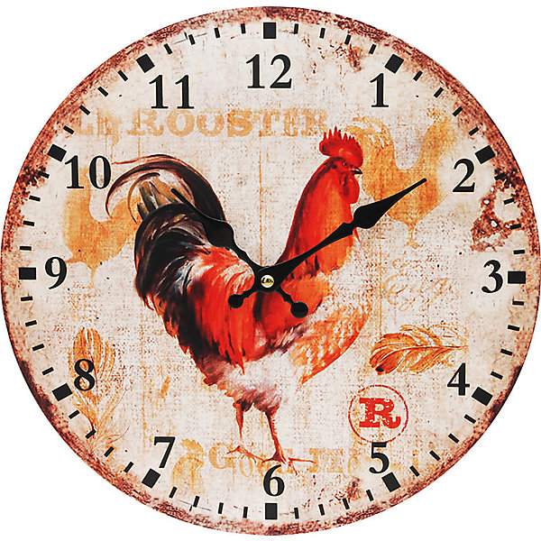 Часы настенные Петушок, диаметр 34 смДетские предметы интерьера<br>Часы<br>Ширина мм: 345; Глубина мм: 340; Высота мм: 45; Вес г: 2500; Возраст от месяцев: 72; Возраст до месяцев: 144; Пол: Унисекс; Возраст: Детский; SKU: 5089817;