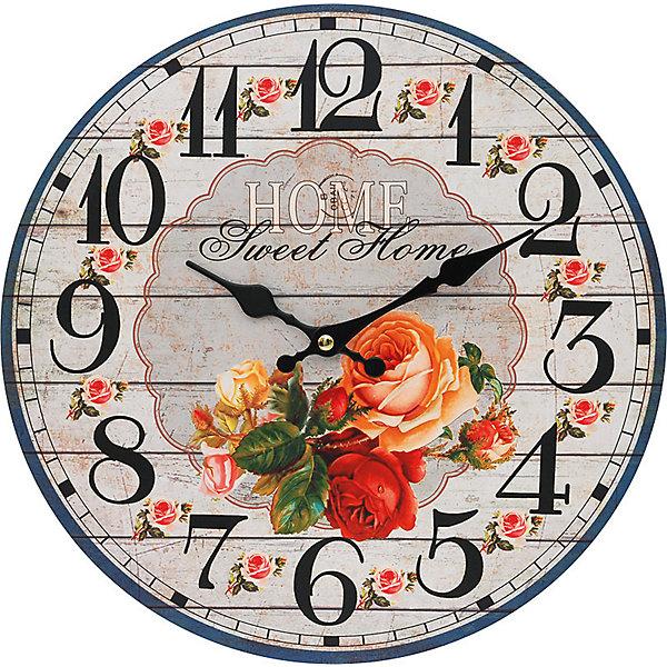 Часы настенные Любимый дом, диаметр 34 смДетские предметы интерьера<br>Часы настенные Любимый дом, диаметр 34 см.<br><br>Характеристики:<br><br>- Диаметр: 34 см.<br>- Две стрелки часовая и минутная<br>- Батарейка: 1 типа АА (в комплект не входит)<br>- Упаковка картонная коробка<br><br>Кварцевые настенные часы с механизмом плавного хода помимо своего прямого назначения – показывать точное время – станут важным элементом декора Вашего дома или квартиры. Открытый циферблат часов выполнен из листа оргалита с декоративным покрытием, оформлен изображением цветочной композиции. Часовая и минутная стрелки металлические. Часовой механизм закрыт пластиковым корпусом. Часы будут стильным акцентом в интерьере и создадут дополнительный уют и хорошее настроение.<br><br>Часы настенные Любимый дом, диаметр 34 см можно купить в нашем интернет-магазине.<br>Ширина мм: 345; Глубина мм: 340; Высота мм: 45; Вес г: 2500; Возраст от месяцев: 72; Возраст до месяцев: 144; Пол: Унисекс; Возраст: Детский; SKU: 5089818;