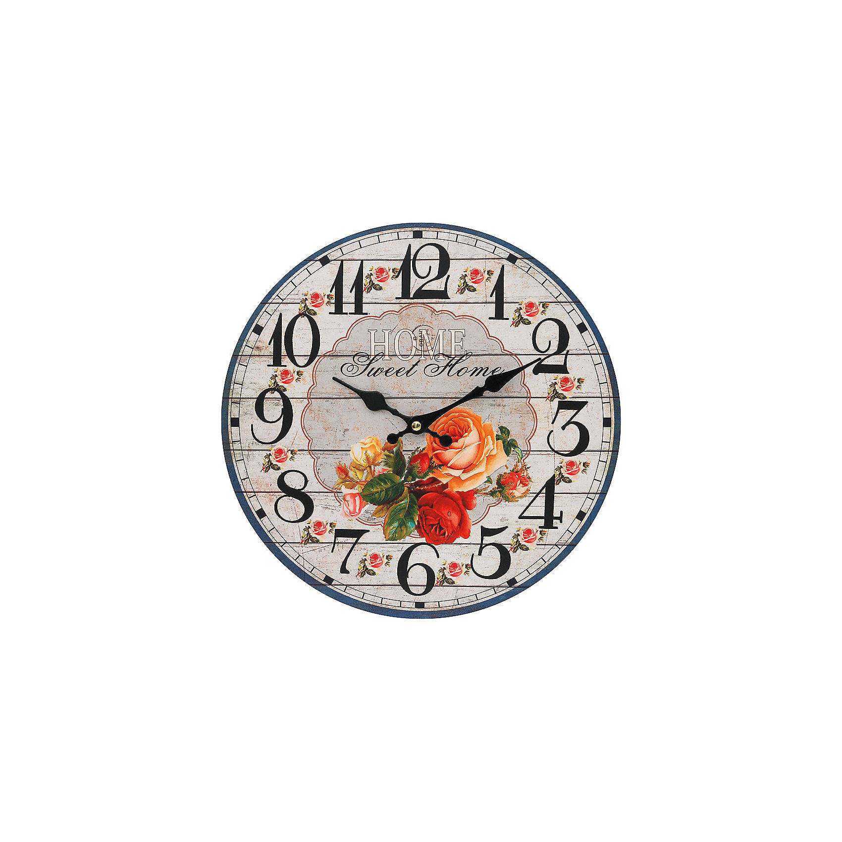 Часы настенные Любимый дом, диаметр 34 смЧасы настенные Любимый дом, диаметр 34 см.<br><br>Характеристики:<br><br>- Диаметр: 34 см.<br>- Две стрелки часовая и минутная<br>- Батарейка: 1 типа АА (в комплект не входит)<br>- Упаковка картонная коробка<br><br>Кварцевые настенные часы с механизмом плавного хода помимо своего прямого назначения – показывать точное время – станут важным элементом декора Вашего дома или квартиры. Открытый циферблат часов выполнен из листа оргалита с декоративным покрытием, оформлен изображением цветочной композиции. Часовая и минутная стрелки металлические. Часовой механизм закрыт пластиковым корпусом. Часы будут стильным акцентом в интерьере и создадут дополнительный уют и хорошее настроение.<br><br>Часы настенные Любимый дом, диаметр 34 см можно купить в нашем интернет-магазине.<br><br>Ширина мм: 345<br>Глубина мм: 340<br>Высота мм: 45<br>Вес г: 2500<br>Возраст от месяцев: 72<br>Возраст до месяцев: 144<br>Пол: Унисекс<br>Возраст: Детский<br>SKU: 5089818