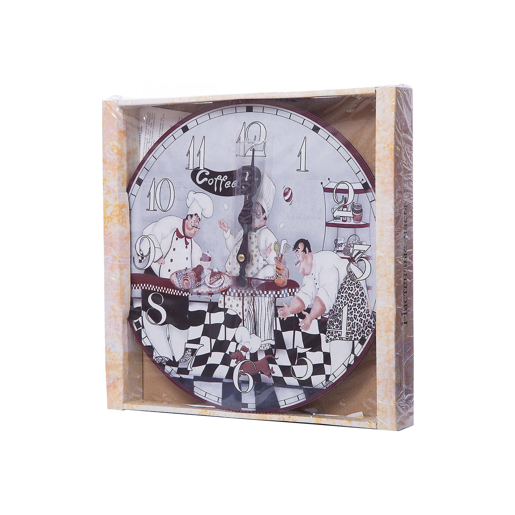 Часы настенные Время пить кофе, диаметр 34 смПредметы интерьера<br>Часы настенные Время пить кофе, диаметр 34 см.<br><br>Характеристики:<br><br>- Диаметр: 34 см.<br>- Две стрелки часовая и минутная<br>- Батарейка: 1 типа АА (в комплект не входит)<br>- Упаковка картонная коробка<br><br>Кварцевые настенные часы с механизмом плавного хода помимо своего прямого назначения – показывать точное время – станут важным элементом декора Вашего дома или квартиры. Открытый циферблат часов выполнен из листа оргалита с декоративным покрытием, оформлен изображением забавной жанровой сценки. Часовая и минутная стрелки металлические. Часовой механизм закрыт пластиковым корпусом. Часы будут ярким акцентом в интерьере и создадут дополнительный уют и хорошее настроение.<br><br>Часы настенные Время пить кофе, диаметр 34 см можно купить в нашем интернет-магазине.<br><br>Ширина мм: 345<br>Глубина мм: 340<br>Высота мм: 45<br>Вес г: 2500<br>Возраст от месяцев: 72<br>Возраст до месяцев: 144<br>Пол: Унисекс<br>Возраст: Детский<br>SKU: 5089819