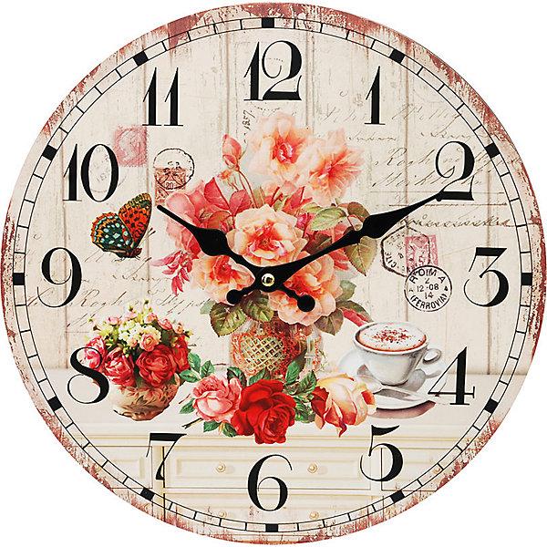 Часы настенные Розы и кофе, диаметр 34 смДетские предметы интерьера<br>Часы настенные Розы и кофе, диаметр 34 см.<br><br>Характеристики:<br><br>- Диаметр: 34 см.<br>- Две стрелки часовая и минутная<br>- Батарейка: 1 типа АА (в комплект не входит)<br>- Цвет: бледно-розовый, бронзовый, кремовый<br>- Упаковка картонная коробка<br><br>Кварцевые настенные часы с механизмом плавного хода помимо своего прямого назначения – показывать точное время – станут важным элементом декора Вашего дома, квартиры или офиса. Открытый циферблат часов выполнен из листа оргалита с декоративным покрытием, оформлен изображением чашечки кофе и цветочной композиции. Часовая и минутная стрелки металлические. Часовой механизм закрыт пластиковым корпусом. Часы будут стильным акцентом в интерьере и создадут дополнительный уют и хорошее настроение.<br><br>Часы настенные Розы и кофе, диаметр 34 см можно купить в нашем интернет-магазине.<br><br>Ширина мм: 345<br>Глубина мм: 340<br>Высота мм: 45<br>Вес г: 2500<br>Возраст от месяцев: 72<br>Возраст до месяцев: 144<br>Пол: Унисекс<br>Возраст: Детский<br>SKU: 5089820